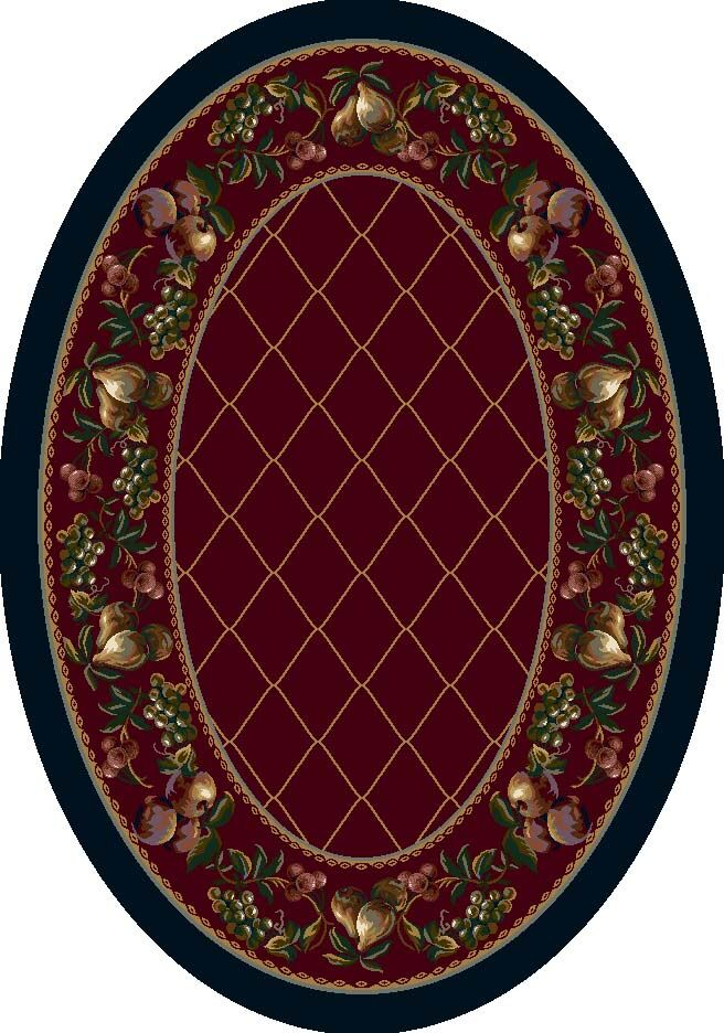 Signature Fruit Medley Garnet Area Rug Rug Size: Oval 5'4
