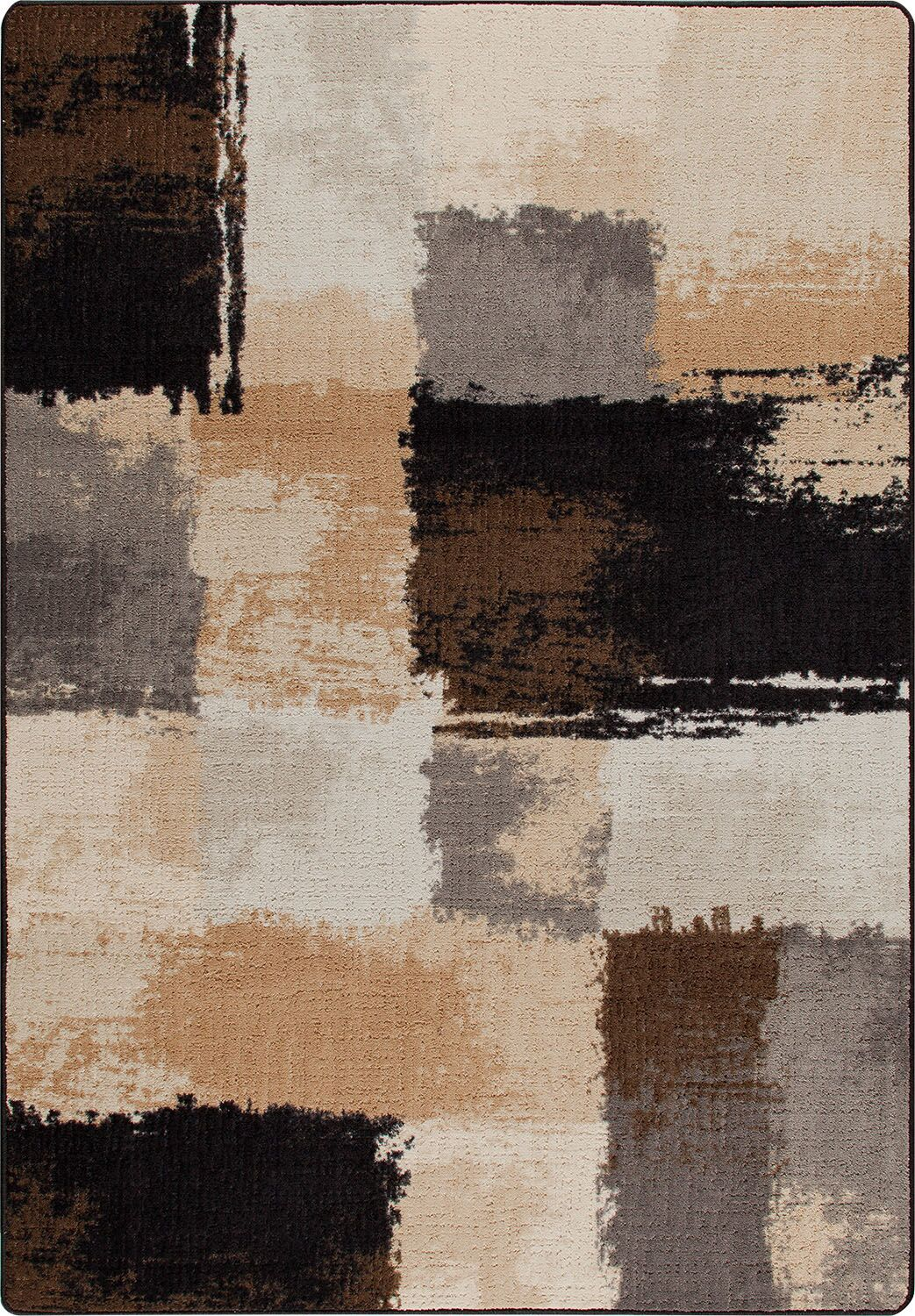 Mix and Mingle Black/Tan Fair And Square Rug Rug Size: Runner 2'1