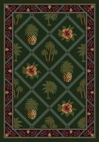 Signature Palm and Pineapple Area Rug Rug Size: Round 7'7