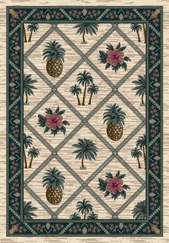Signature Palm Bay Pearl Area Rug Rug Size: Oval 5'4