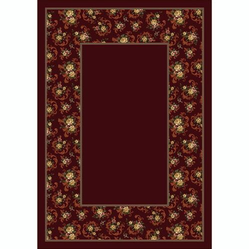 Design Center Garnet Cameo Rose Area Rug Rug Size: Round 7'7