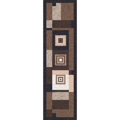 Pastiche Bloques Brown Leather Contemporary Runner Rug Size: 2'1