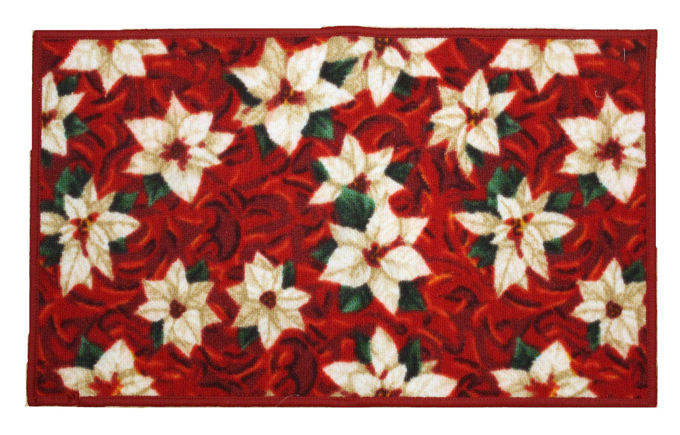 White Poinsettia Holiday Area Rug Rug Size: Rectangle 1'6