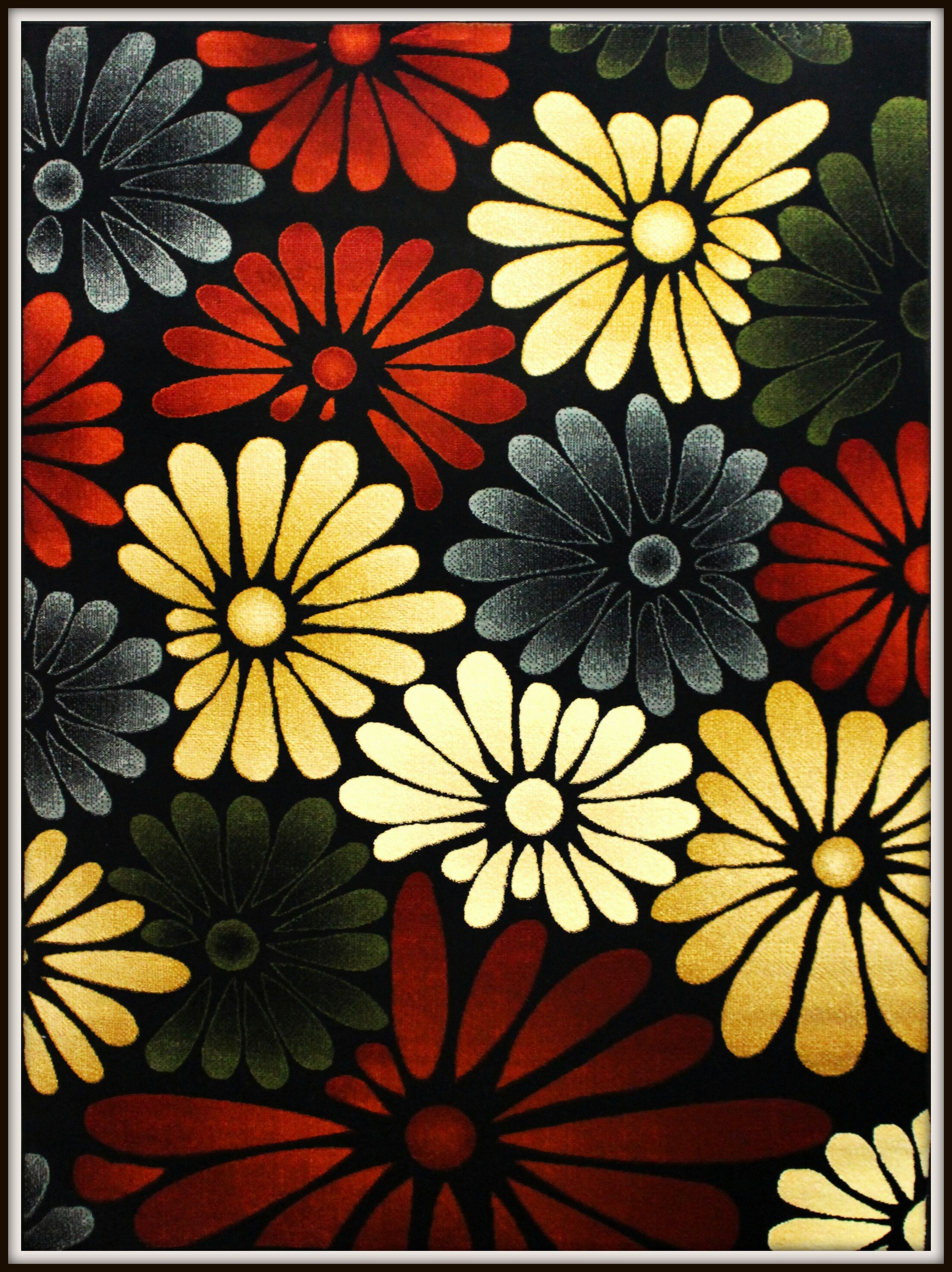 Rayan Flower Red/Yellow/Black Area Rug