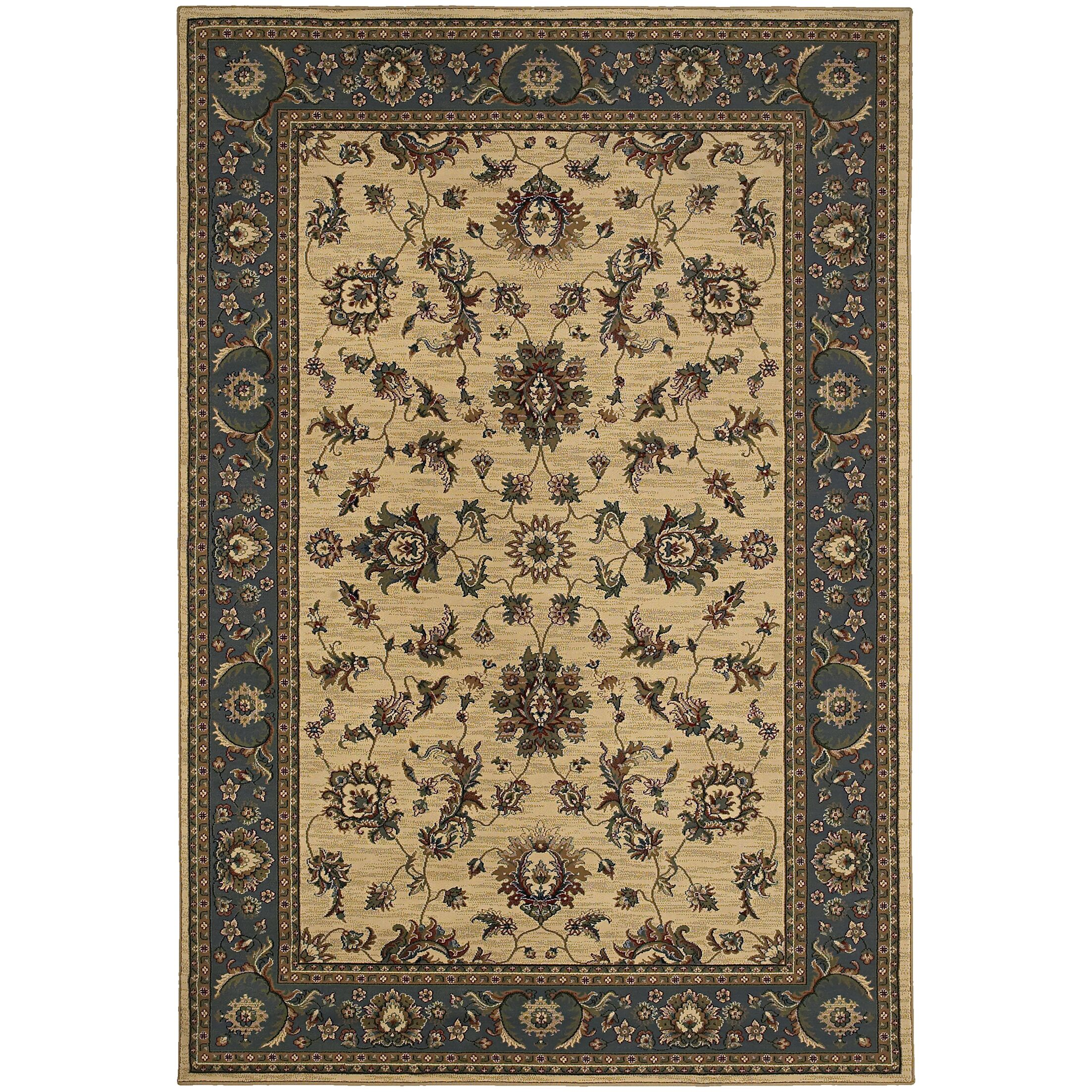 Shelburne Traditional Ivory/Blue Area Rug Rug Size: Rectangle 6'7