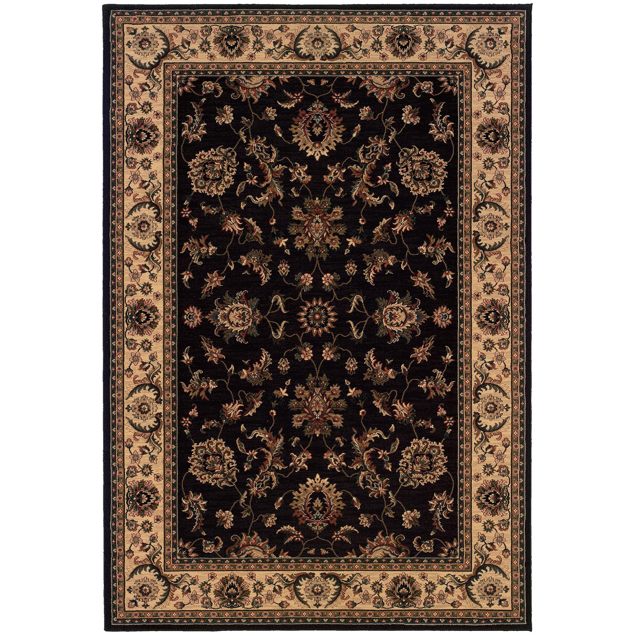 Shelburne Persian Hand Woven Beige/Black Area Rug Rug Size: Rectangle 5'3
