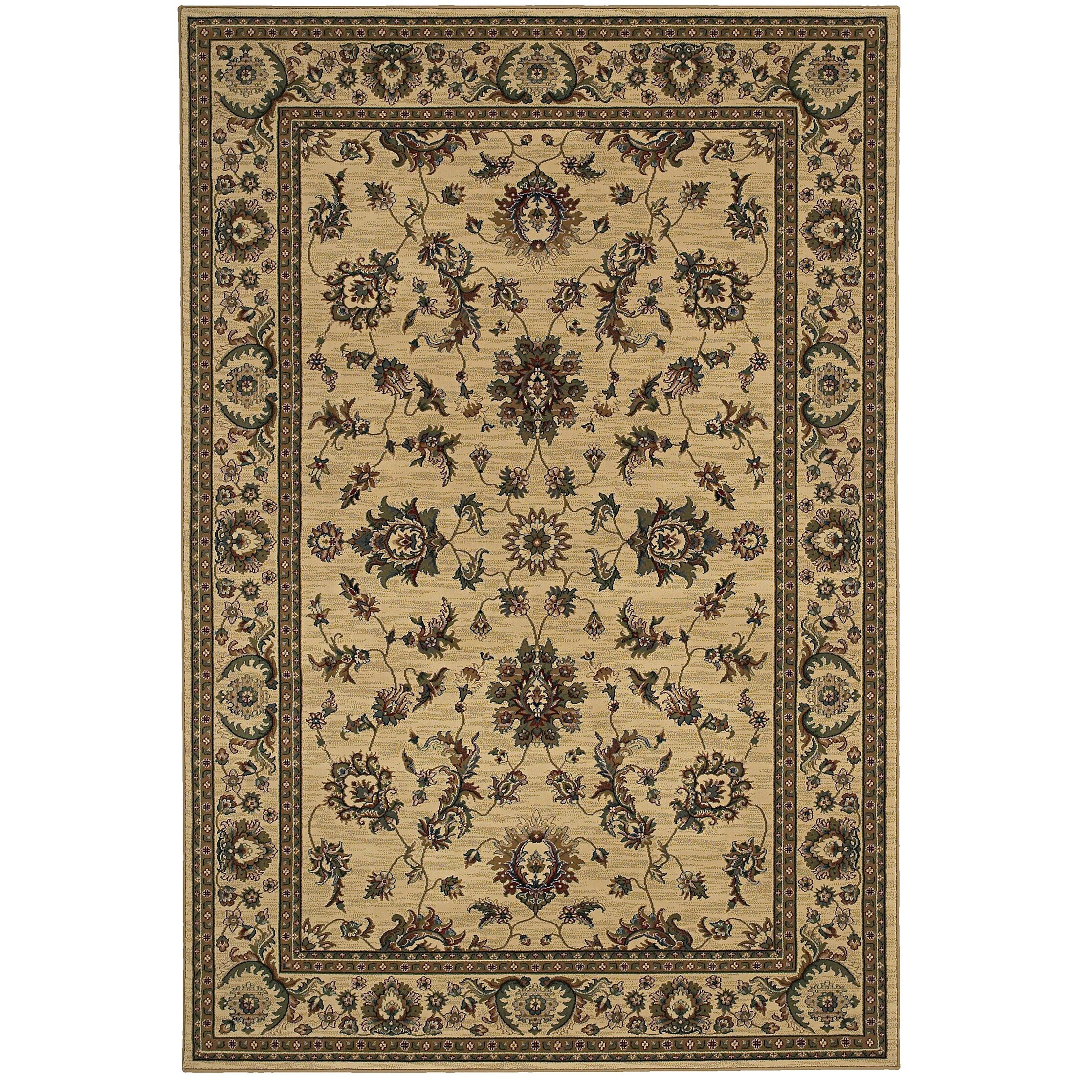 Shelburne Traditional Ivory/Green Area Rug Rug Size: Runner 2'3