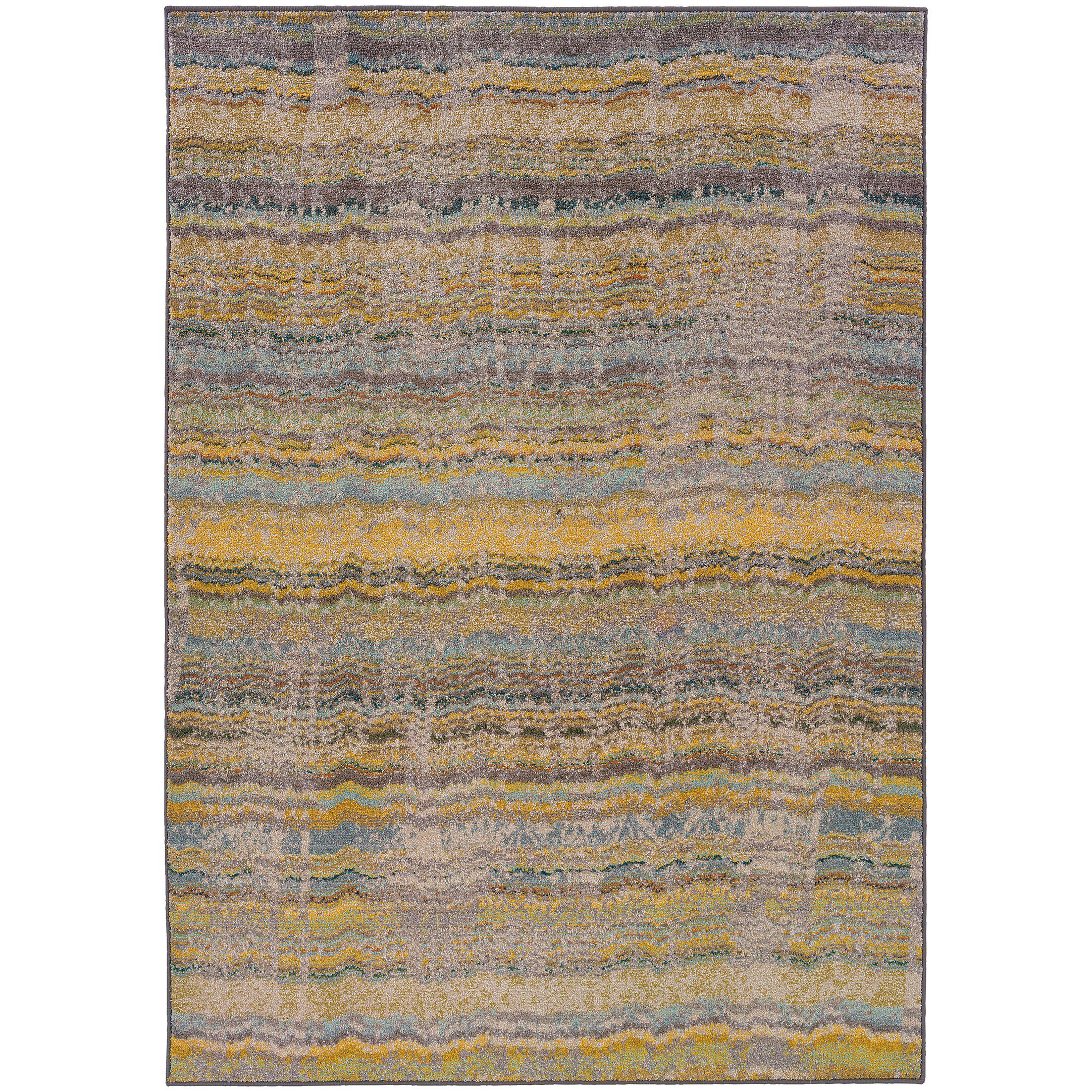 Alcaraz Distressed Stripe Yellow/Gray Area Rug Rug Size: Rectangle 7'10