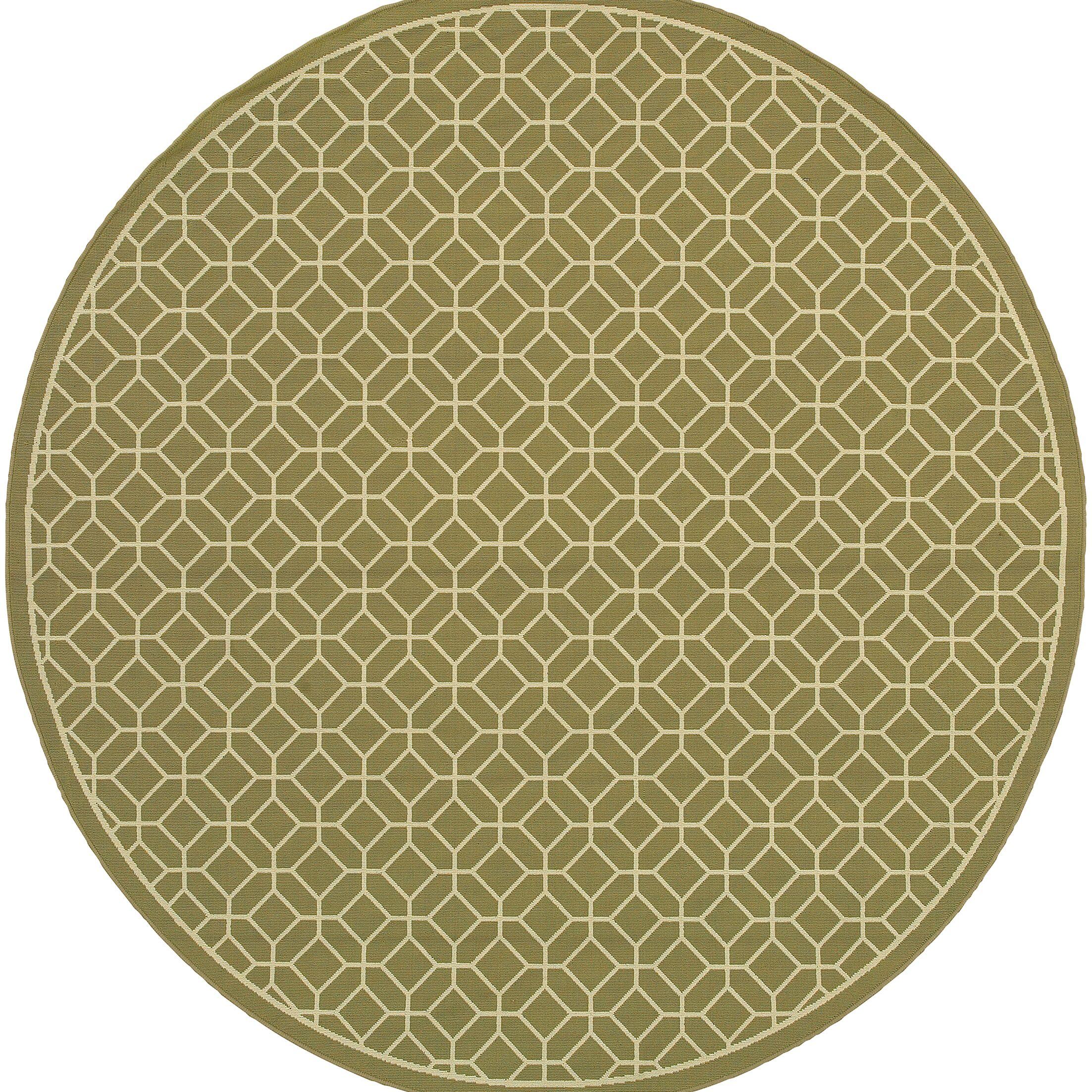 Liza Green/Ivory Indoor/Outdoor Area Rug Rug Size: Round 7'10