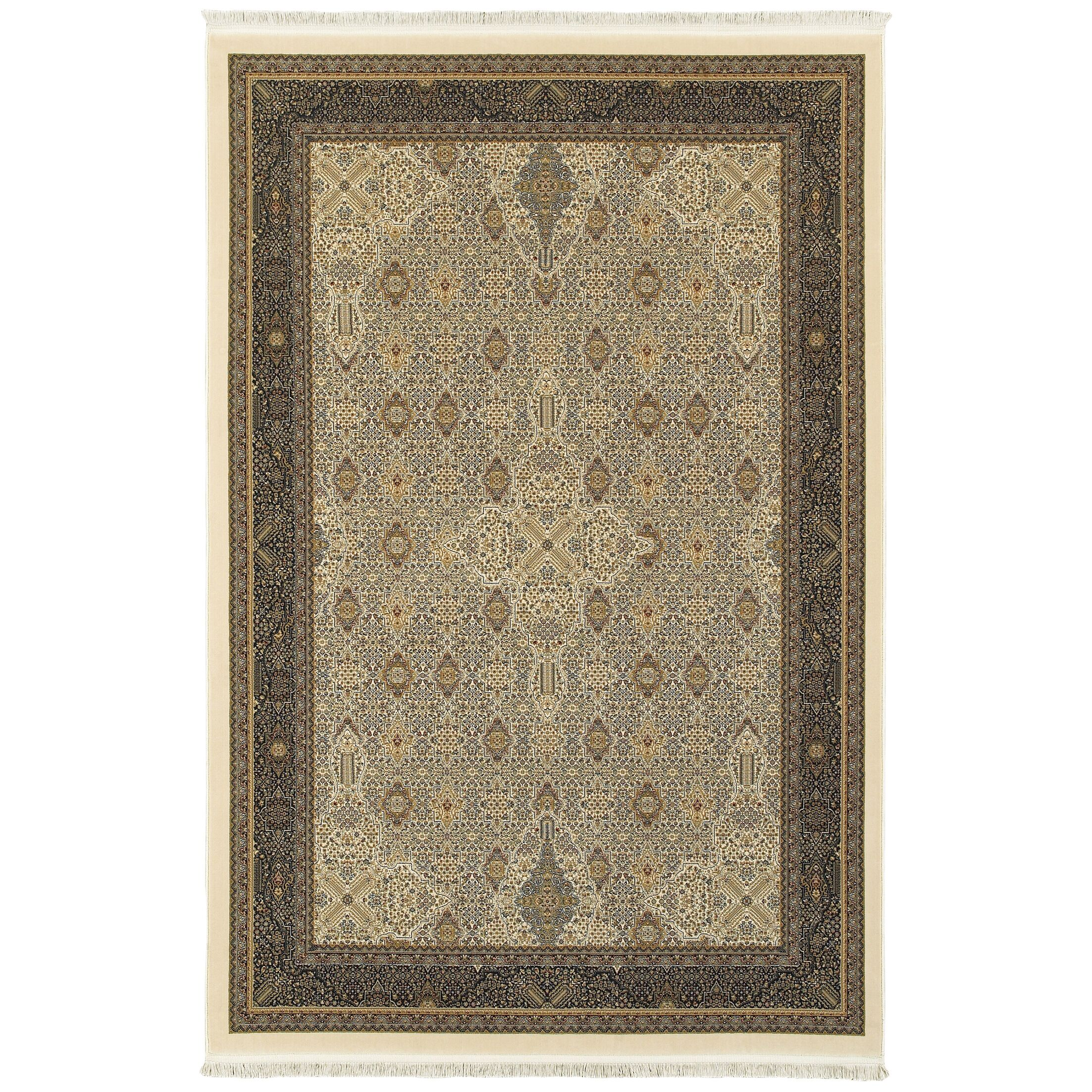 Knepp Traditional Ivory Area Rug Rug Size: Rectangle 6'7