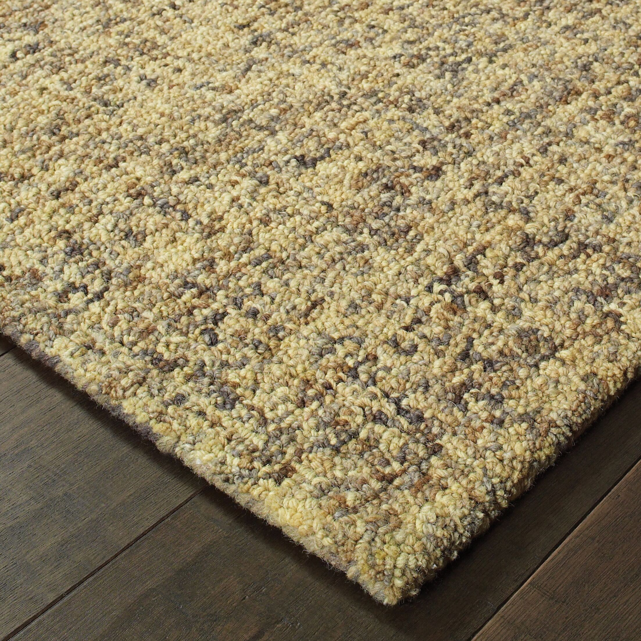Laguerre Rustic Shades Boucle Hand-Hooked Wool Gold Area Rug Rug Size: Rectangle 8' x 10'