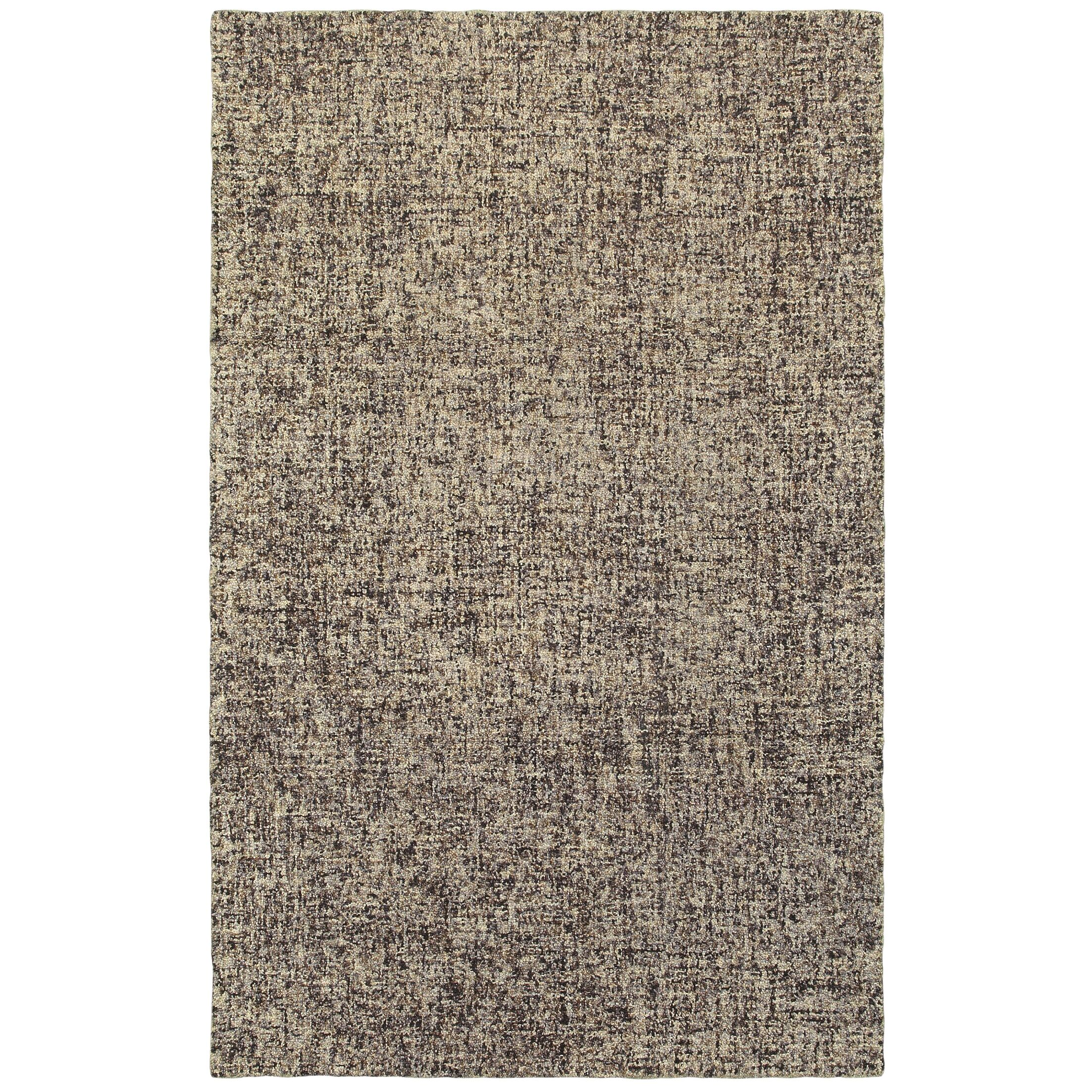 Laguerre Boucle Hand-Hooked Wool Black/Beige Area Rug Rug Size: Rectangle 5' x 8'