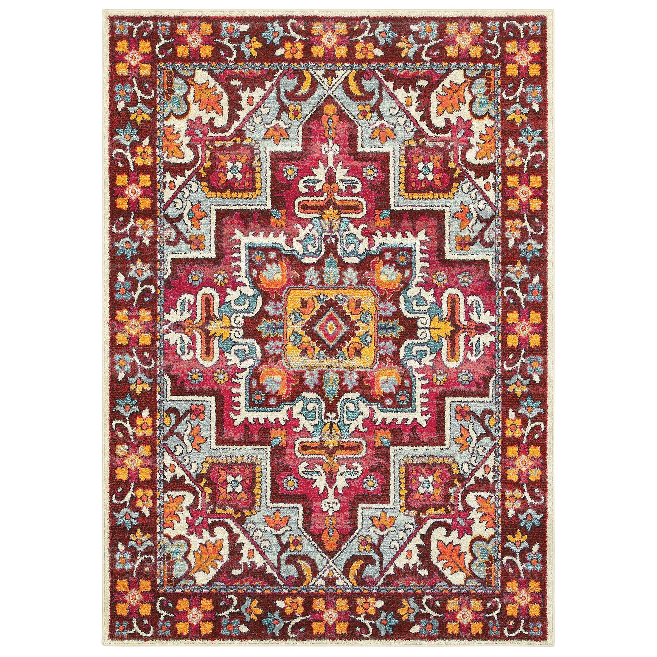 Belmonte Medallion Red/Pink Area Rug Rug Size: Rectangle 2'7
