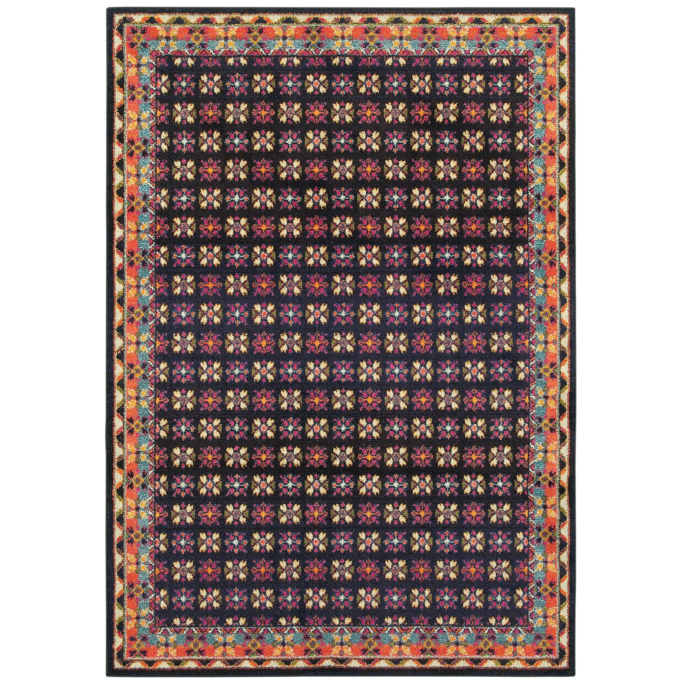 Belmonte Navy/Pink Area Rug Rug Size: Rectangle 2'7