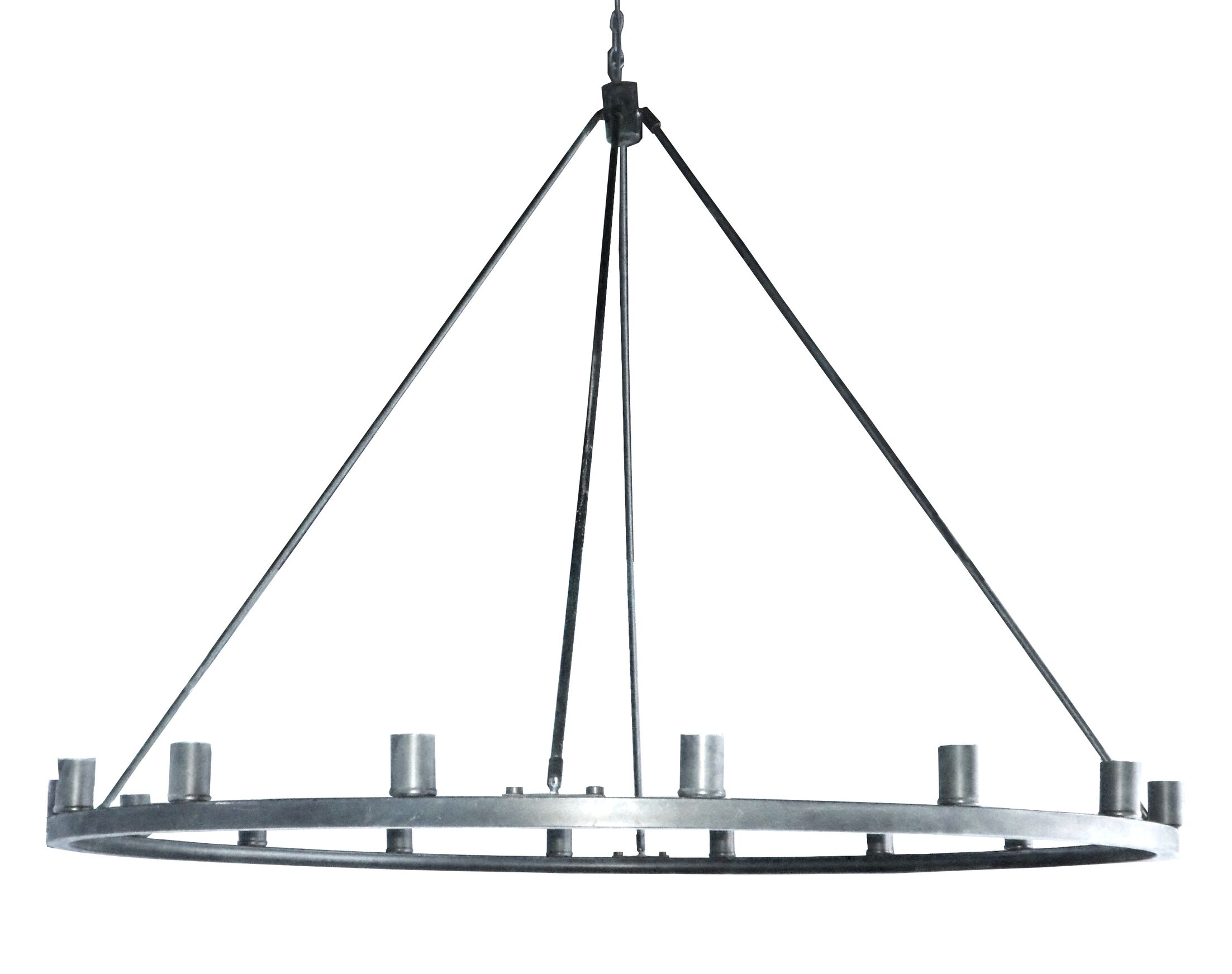 Gino 16-Light Wagon Wheel Chandelier Finish: Satin Steel
