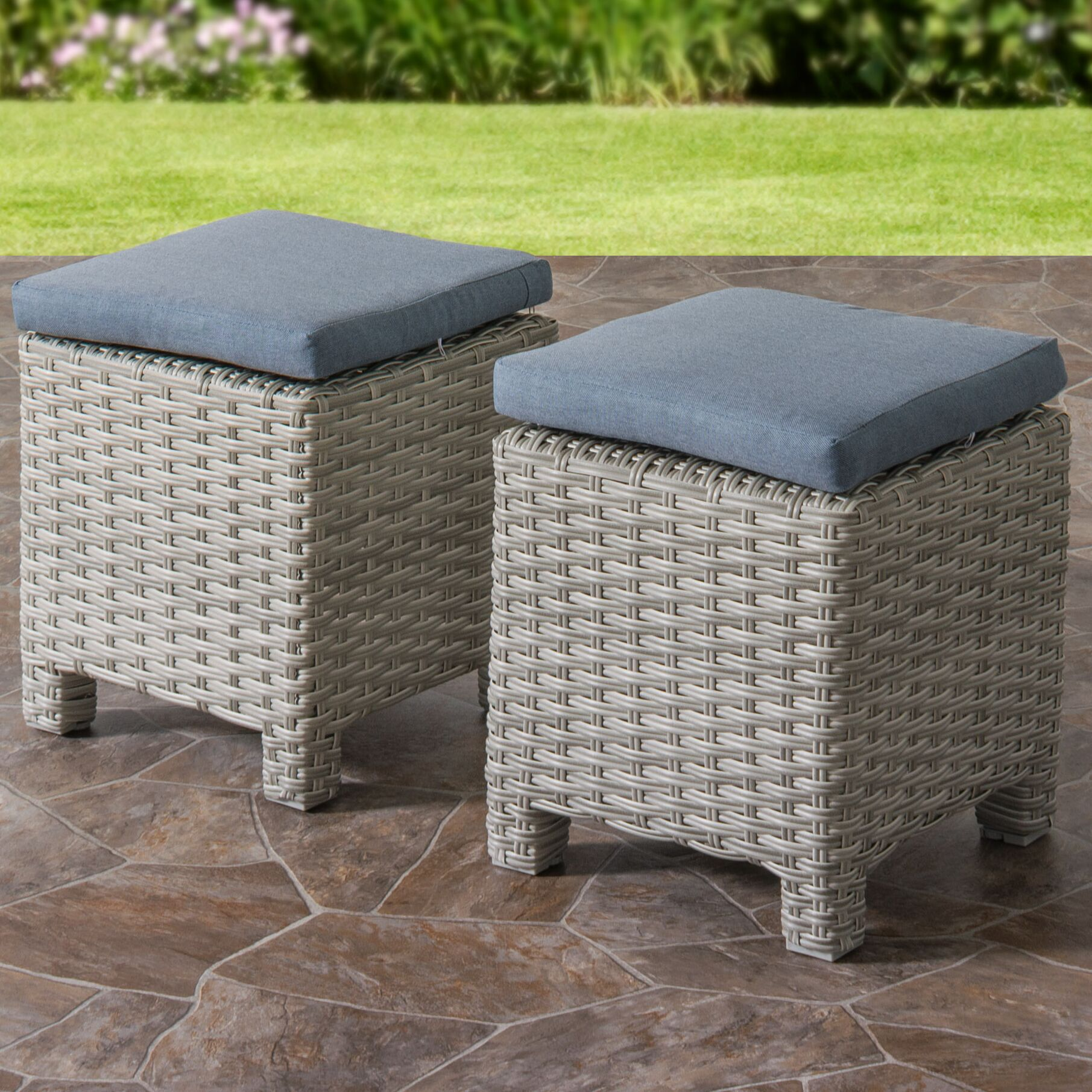 Killingworth Weather Resistant Resin Wicker Ottoman with Cushions Fabric: Blue