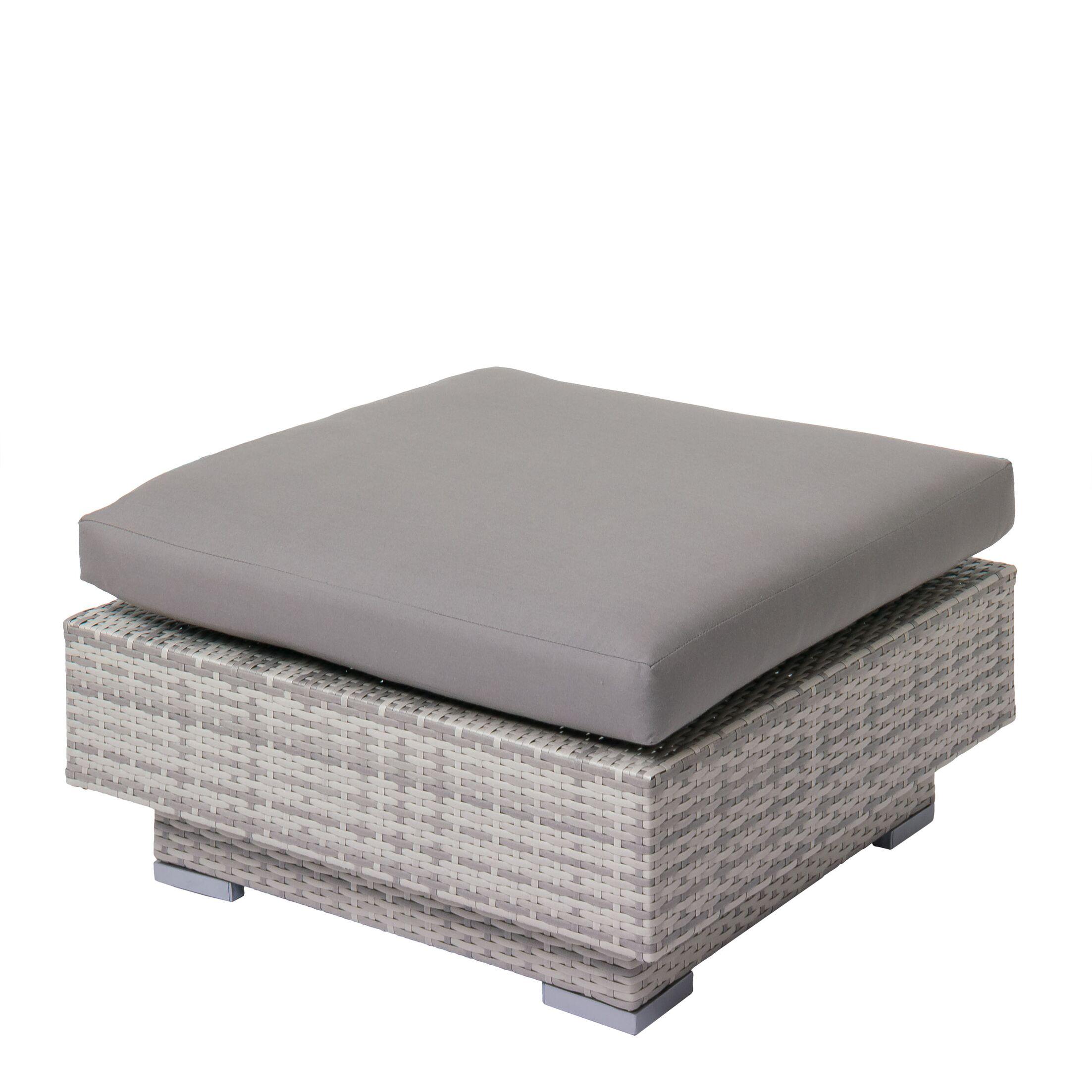 Meleri Patio Wicker Ottoman with Sunbrella Cushion Fabric: Gray
