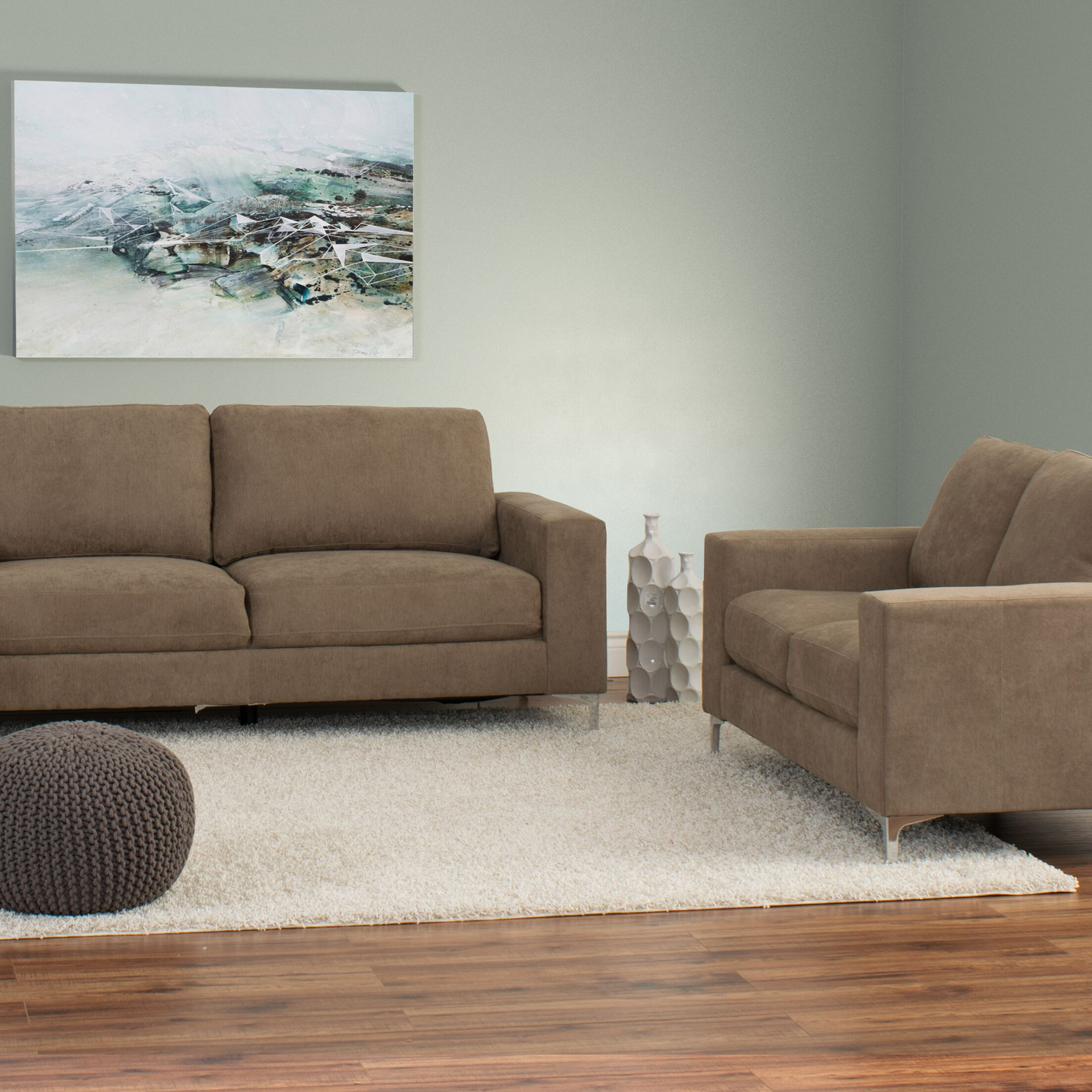 Hermia 2 Piece Living Room Set Upholstery: Brown