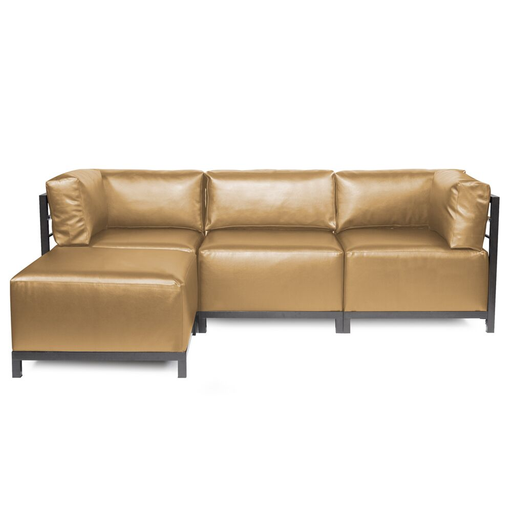 Woodsen Patio Sectional with Cushions Frame Color: Titanium, Cushion Color: Bronze