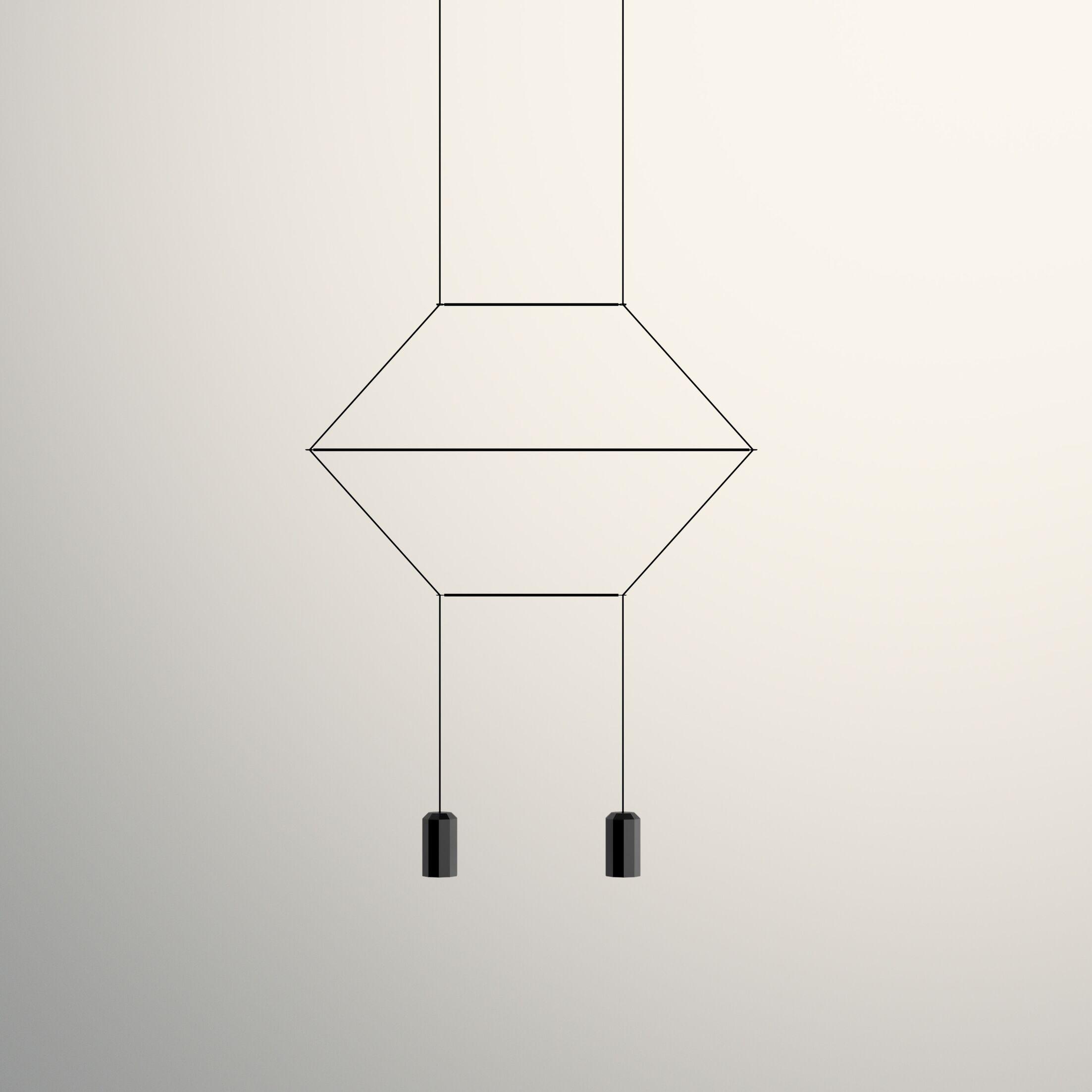 Wireflow 2D 2-Light Geometric Chandelier