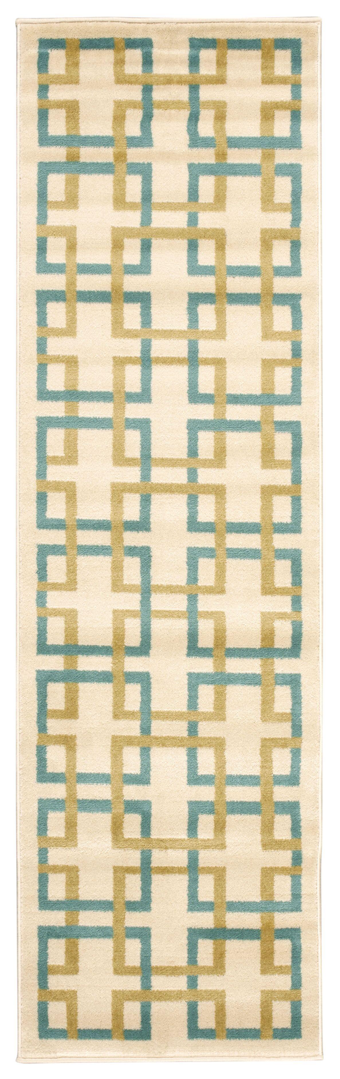 Dennis Ivory/Blue Area Rug Rug Size: Rectangle 5'3