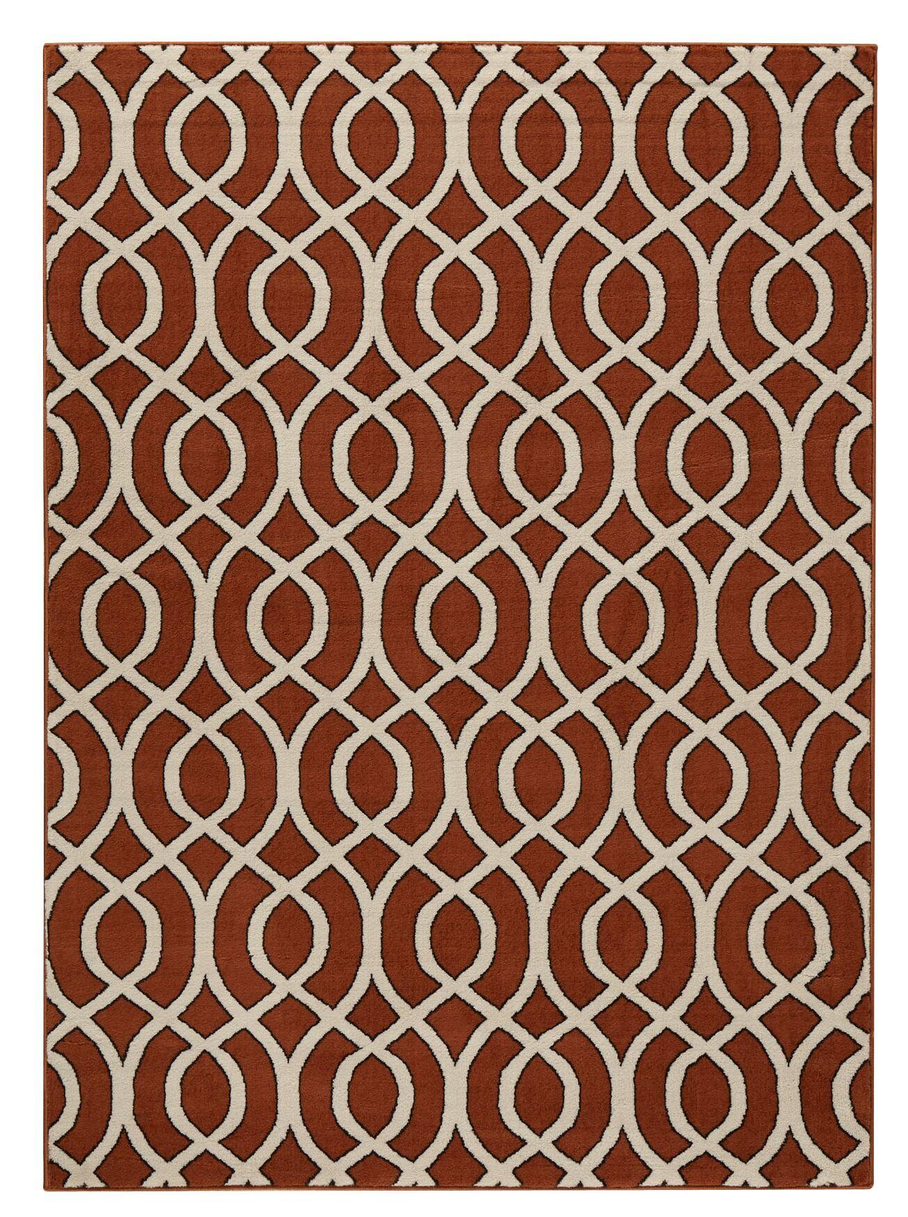 Jenna Burnt Orange/Ivory Area Rug Rug Size: Rectangle 7'10