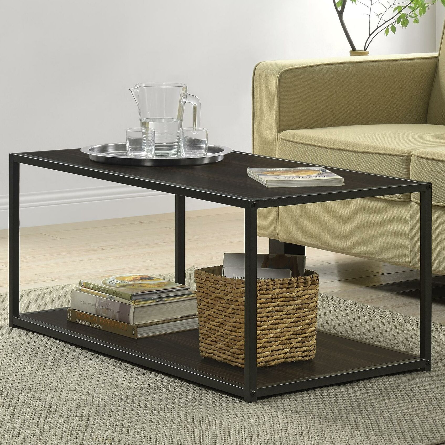 Hintz Industrial Coffee Table Color: Espresso