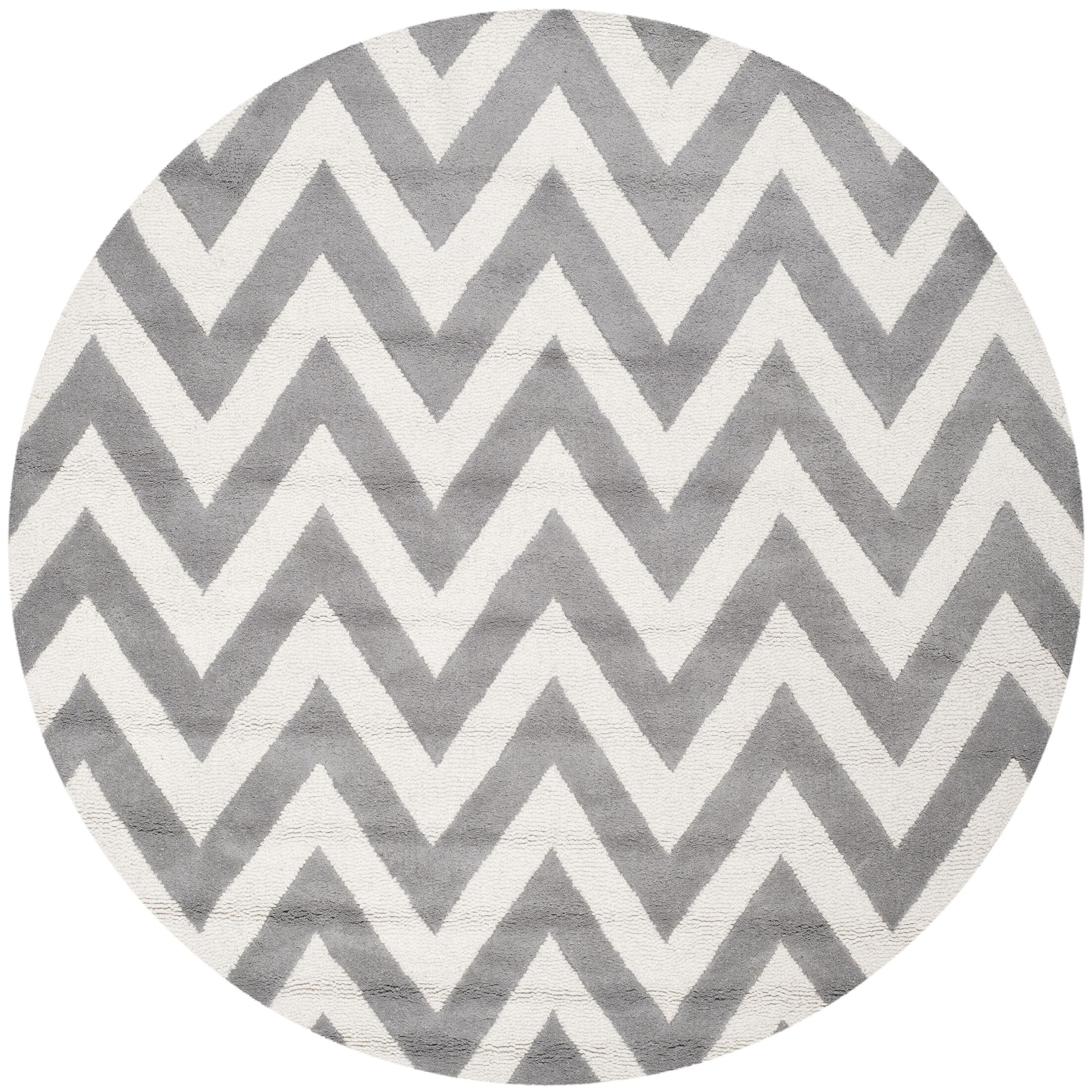 Daveney Hand-Tufted Wool Silver/Ivory Area Rug Rug Size: Round 4'