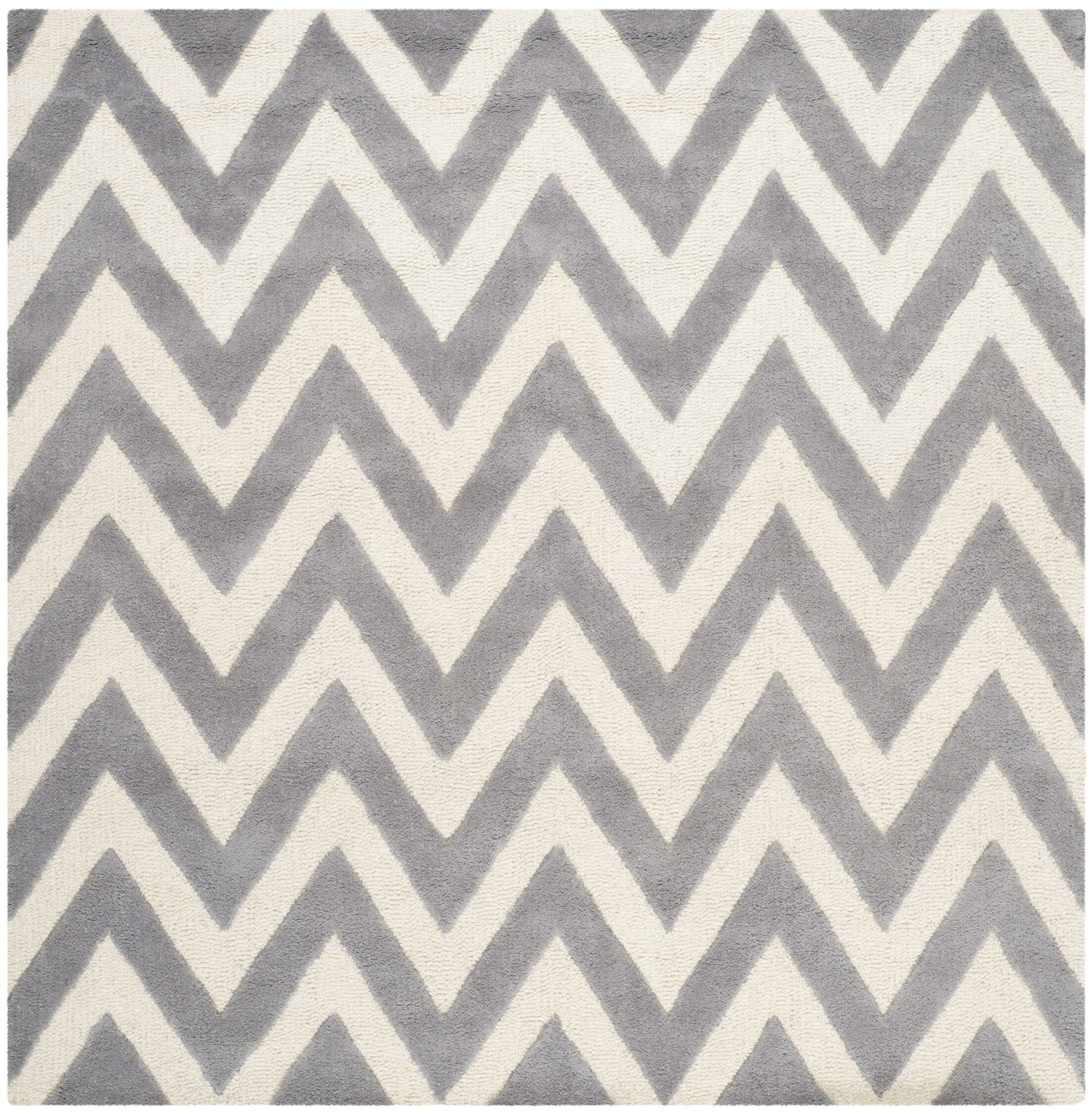 Daveney Hand-Tufted Wool Silver/Ivory Area Rug Rug Size: Square 6'
