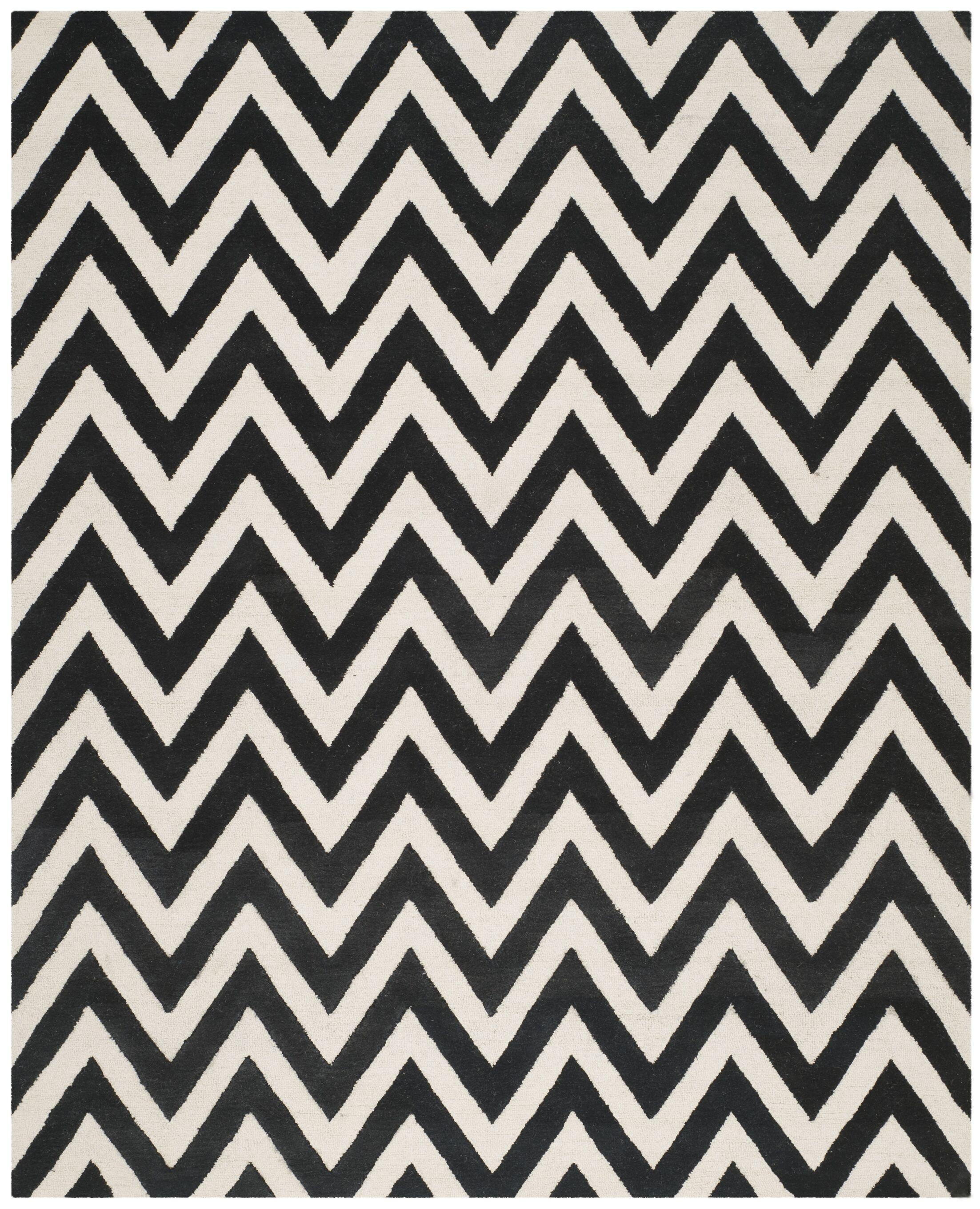 Daveney Hand-Tufted Wool Black/Ivory Area Rug Rug Size: Rectangle 9' x 12'