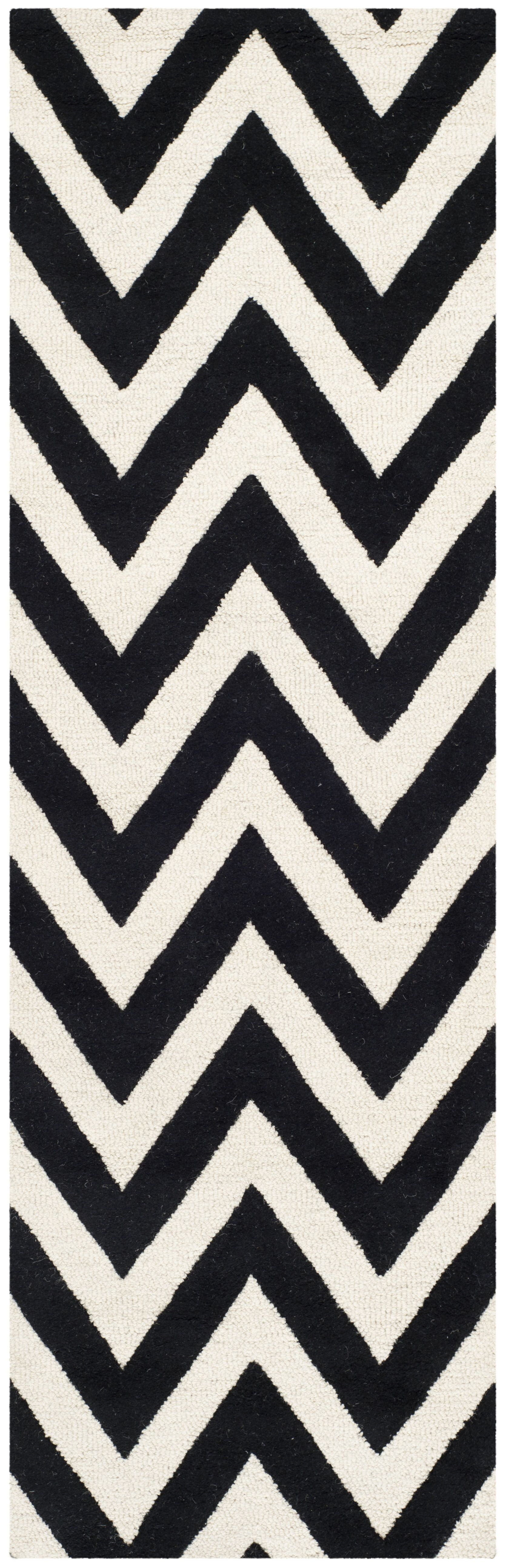 Daveney Hand-Tufted Wool Black/Ivory Area Rug Rug Size: Runner 2'6
