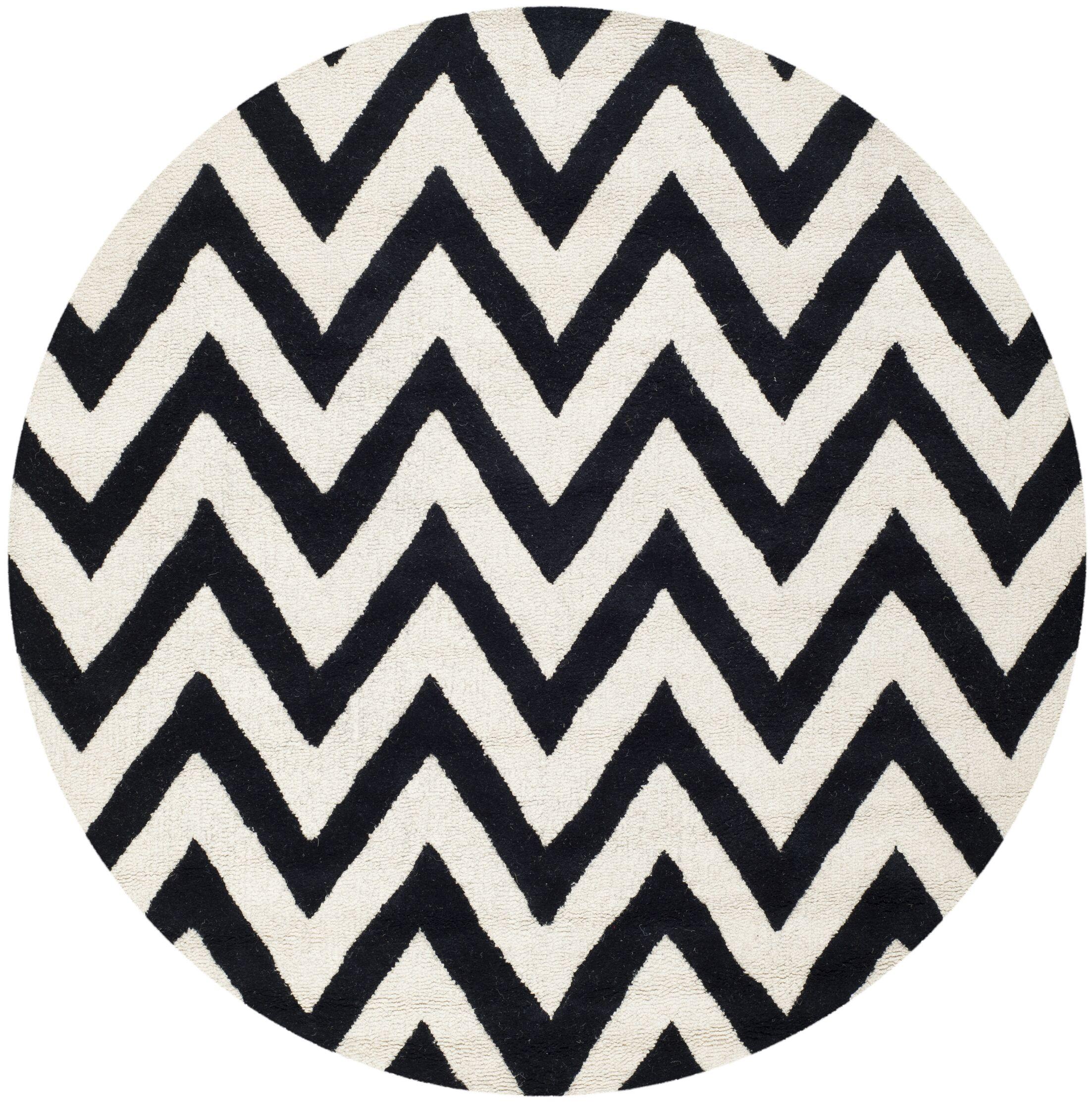 Daveney Hand-Tufted Wool Black/Ivory Area Rug Rug Size: Round 4'