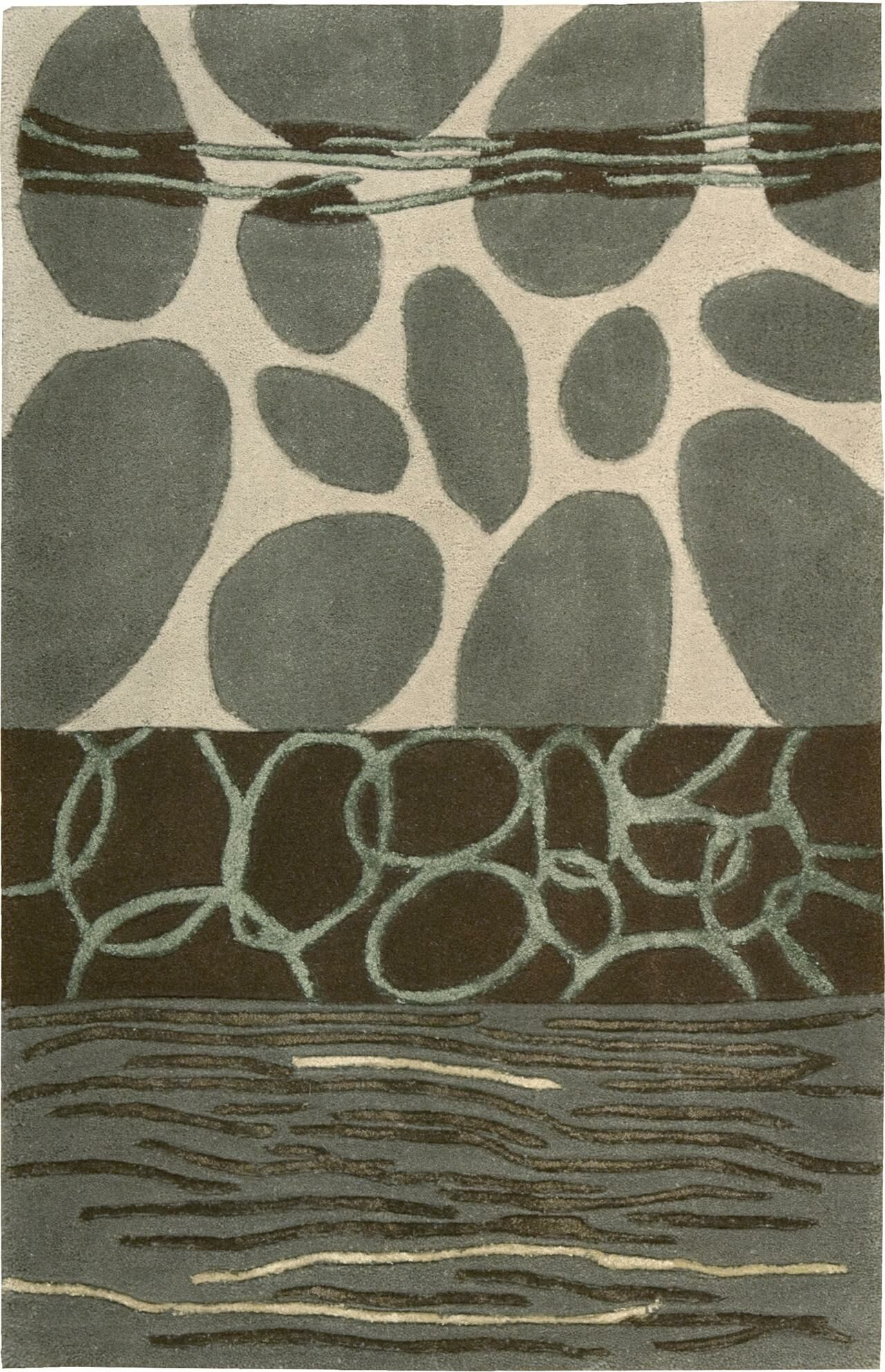 Nevada Hand-Tufted Wool Green/Blue Area Rug Rug Size: Rectangle 2' x 3'