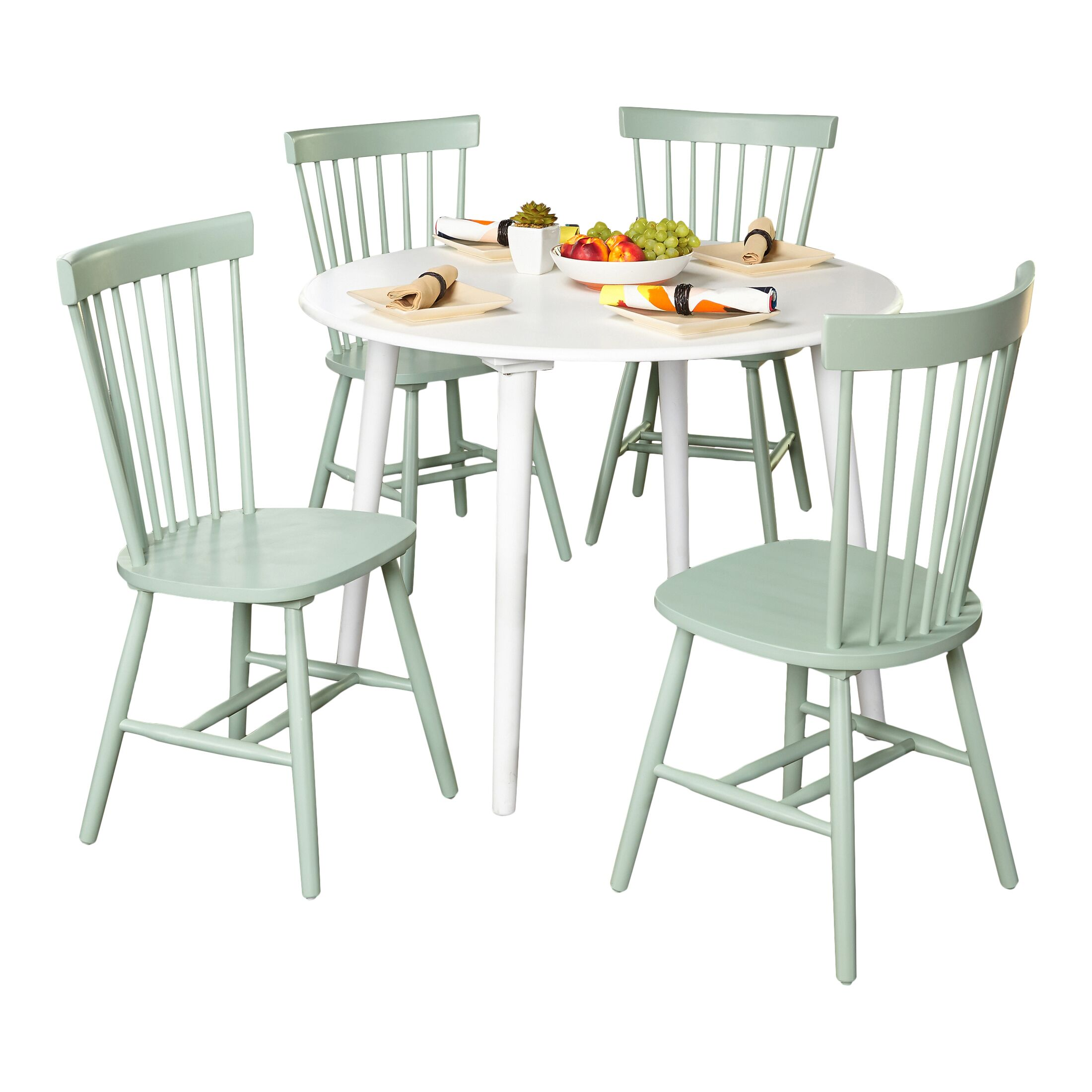Vanessa 5 Piece Dining Set Chair Finish: Mint