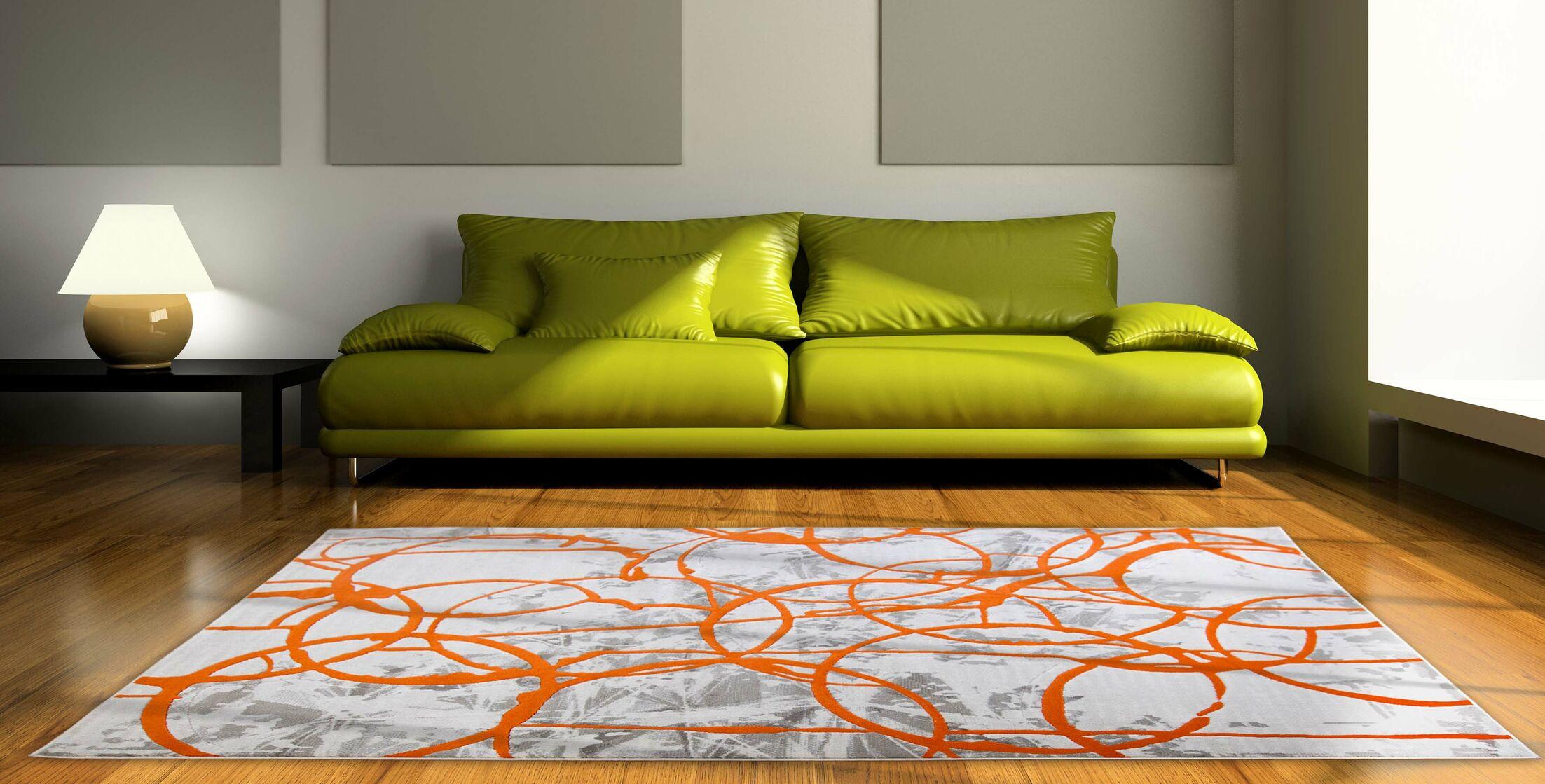 Tricia Ivory/Orange/Gray Area Rug Rug Size: Rectangle 5'2