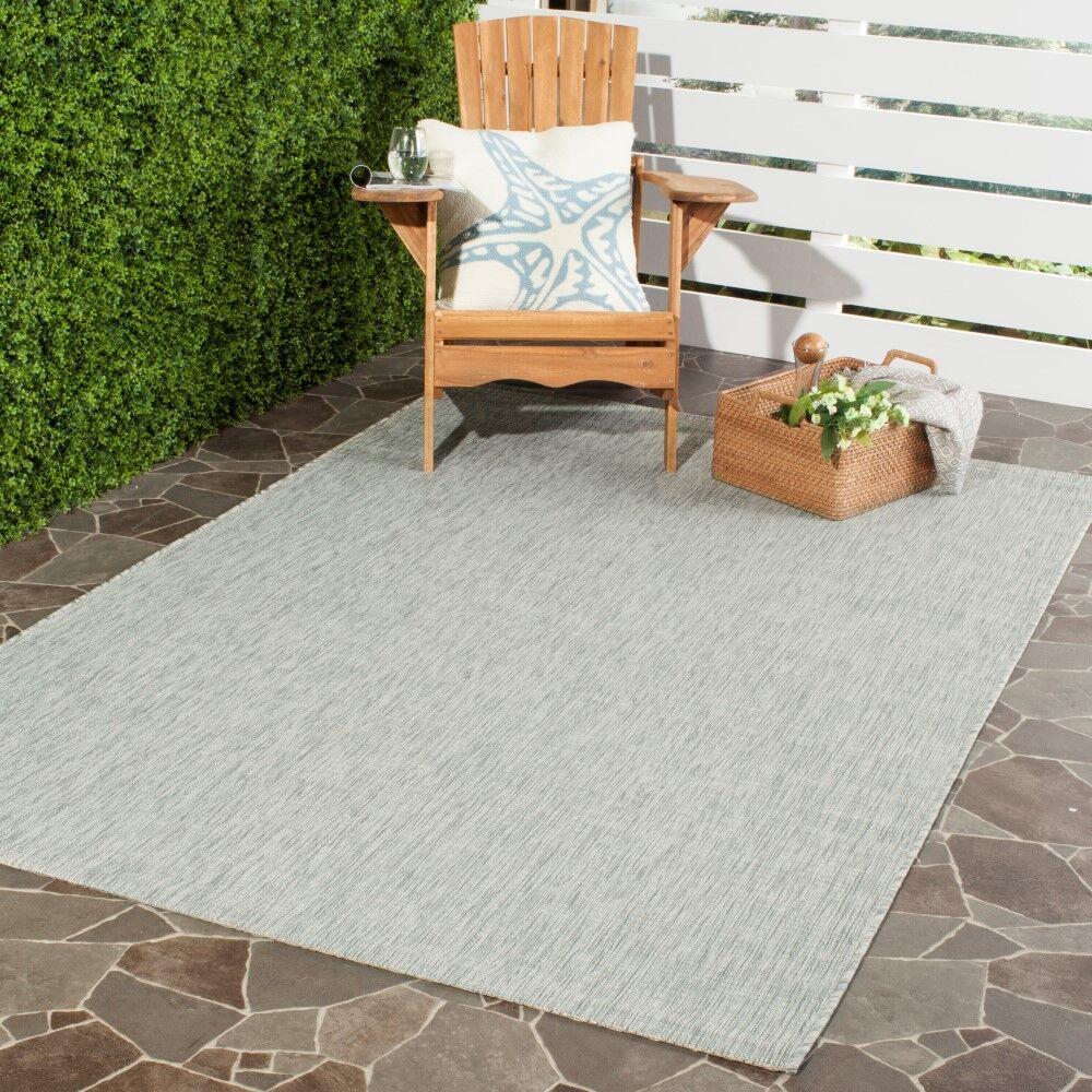 Adelia Gray/Turquoise Indoor/Outdoor Area Rug Rug Size: Rectangle 9' x 12'