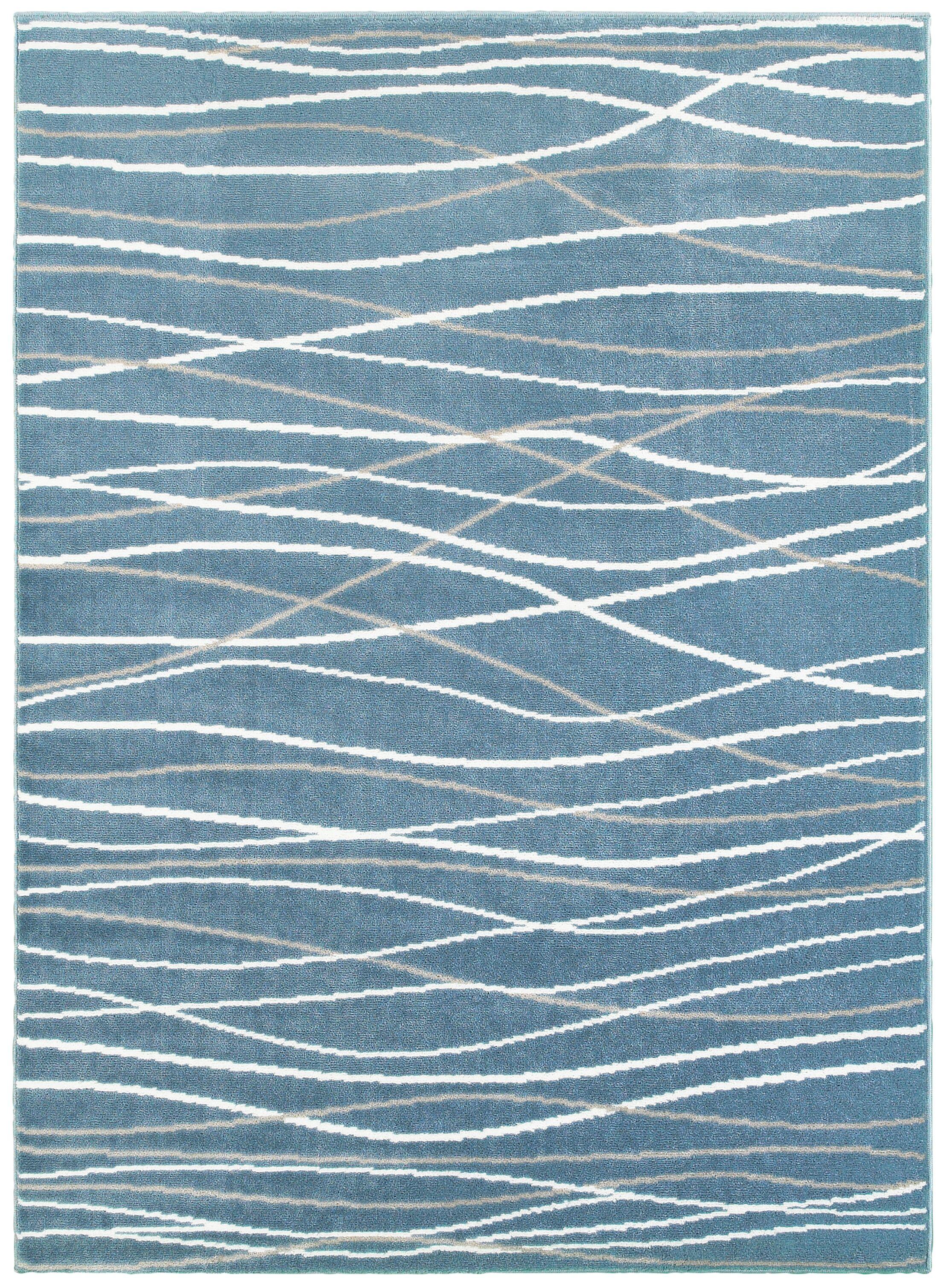 Ky Grace Teal Blue/Beige/White Area Rug Rug Size: 9' x 12'