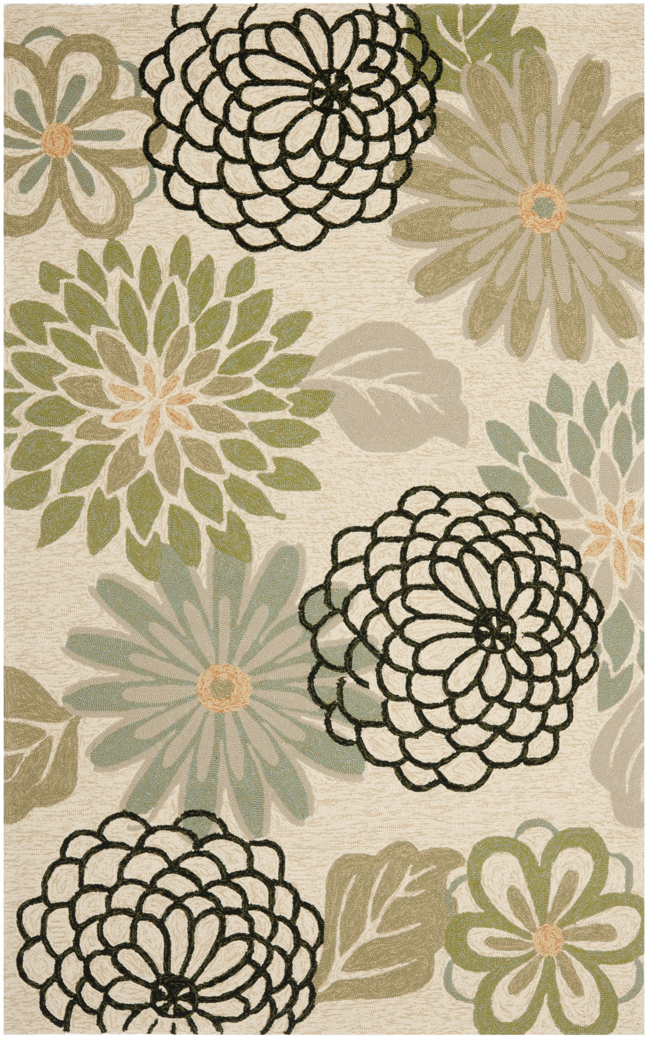 Hayes Beige/Green Indoor/Outdoor Area Rug Rug Size: Rectangle 5' x 7'