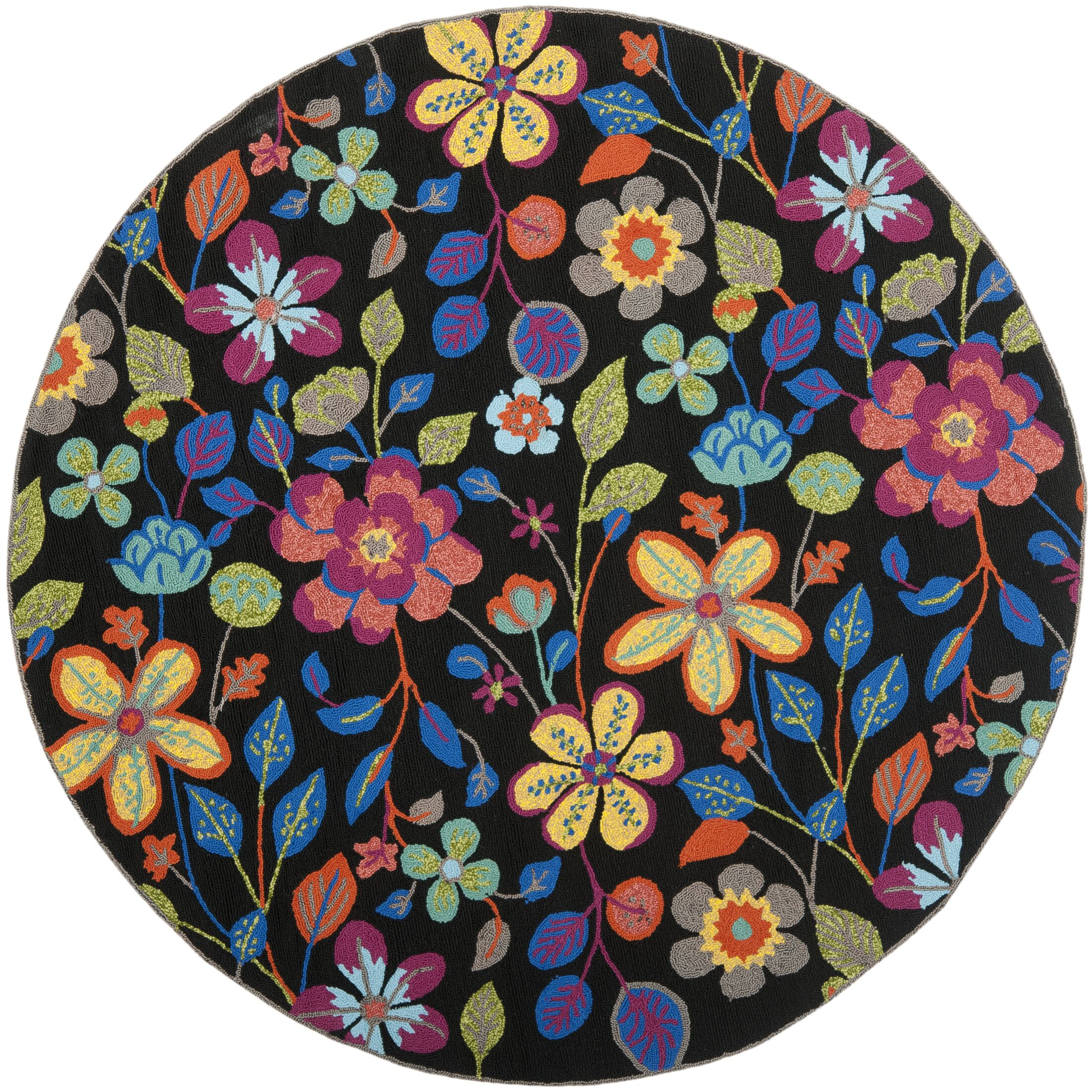 Hayes Floral Outdoor Area Rug Rug Size: Round 6'