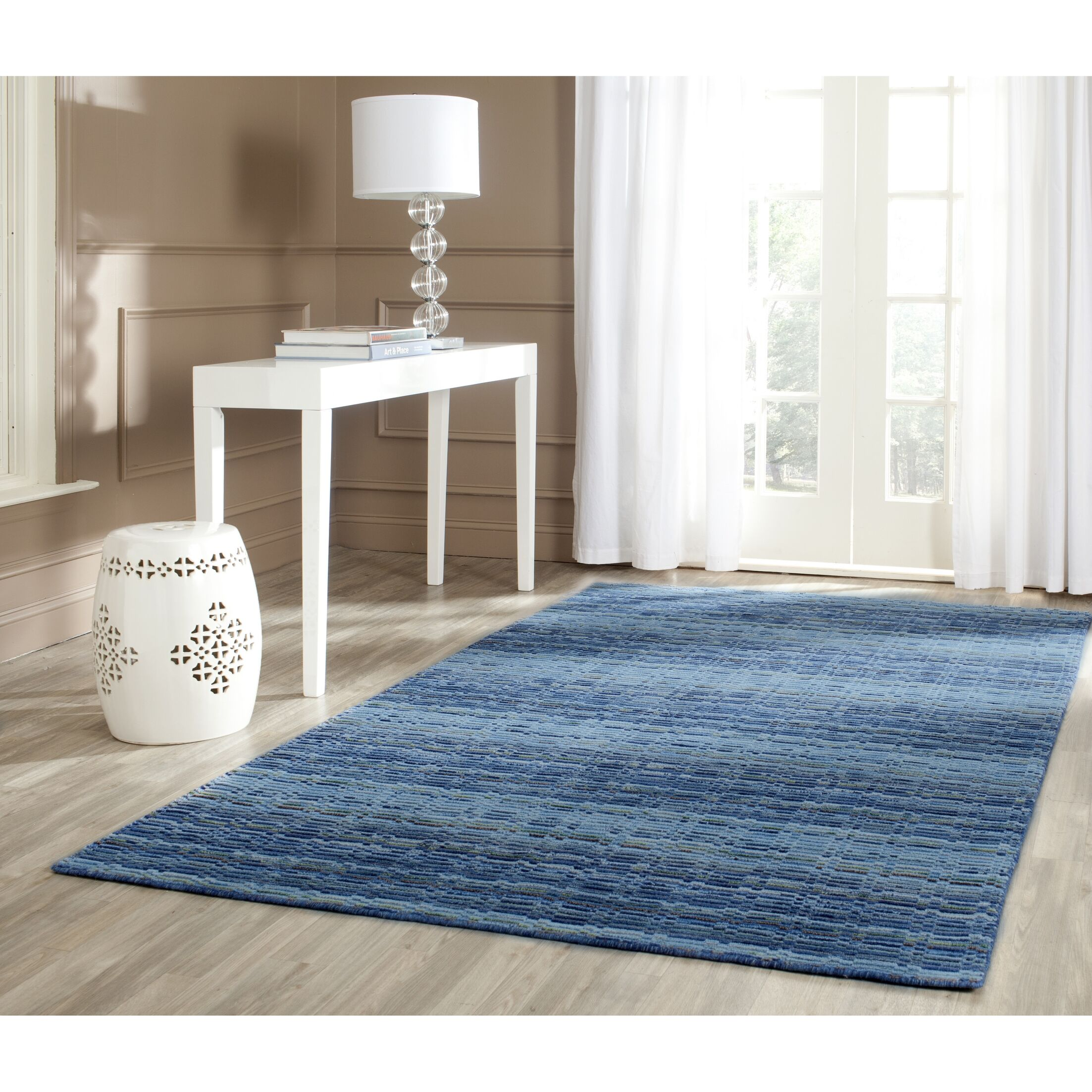 Sherri Hand-Woven Wool Blue Area Rug Rug Size: Rectangle 4' x 6'