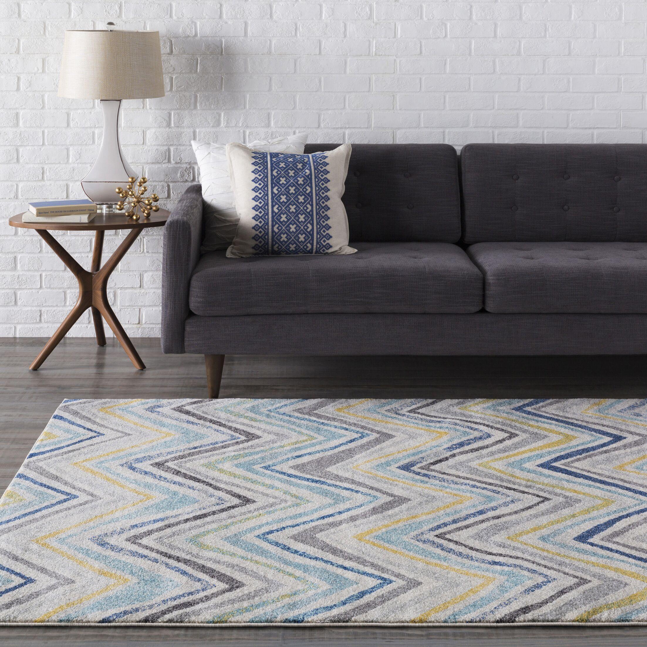 Evangelina Blue/Gray Area Rug Rug Size: Rectangle 9'3
