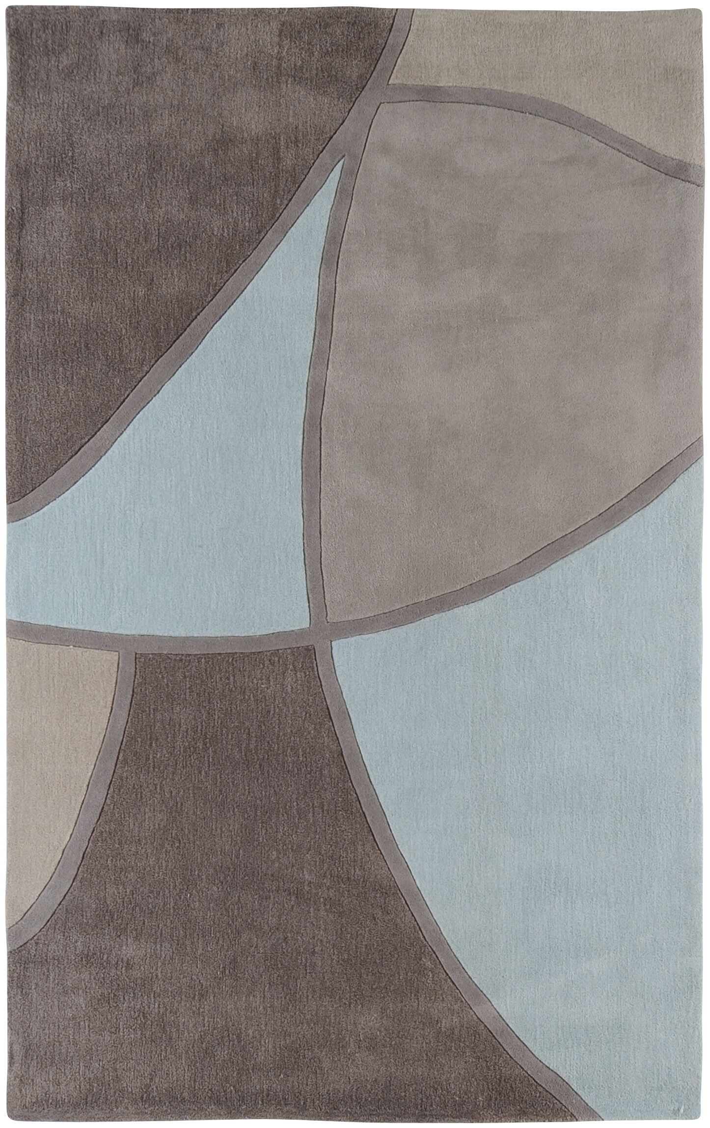 Deveau Gray & Blue Area Rug Rug Size: Round 8'