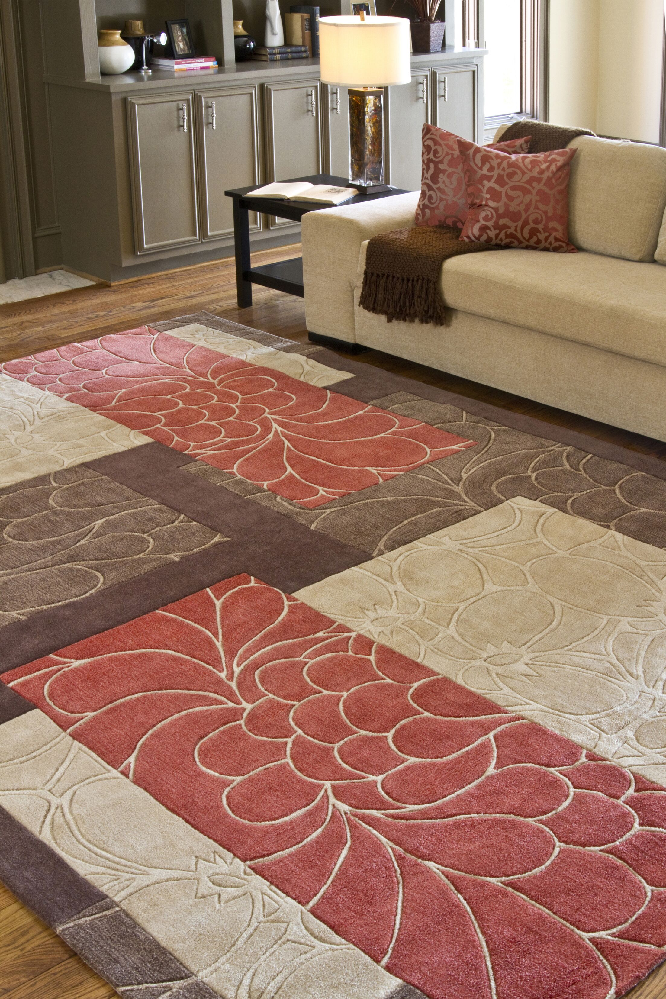 Deveau Brown/Red Rug Rug Size: Rectangle 8' x 11'