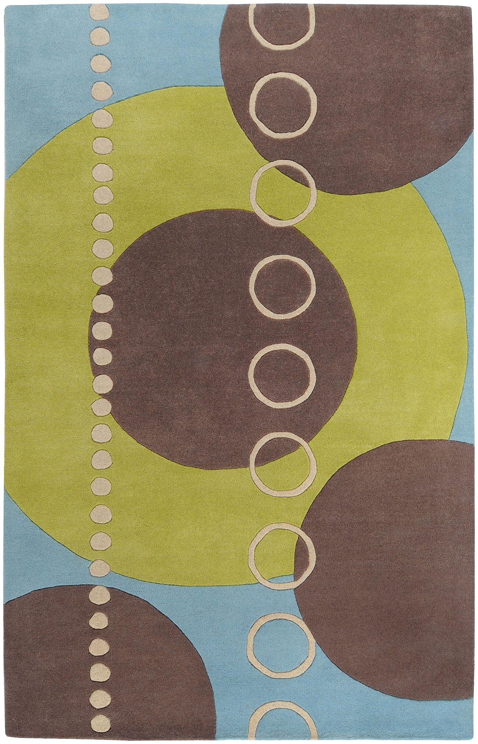 Dewald Sky/Brown Circle Area Rug Rug Size: Round 8'