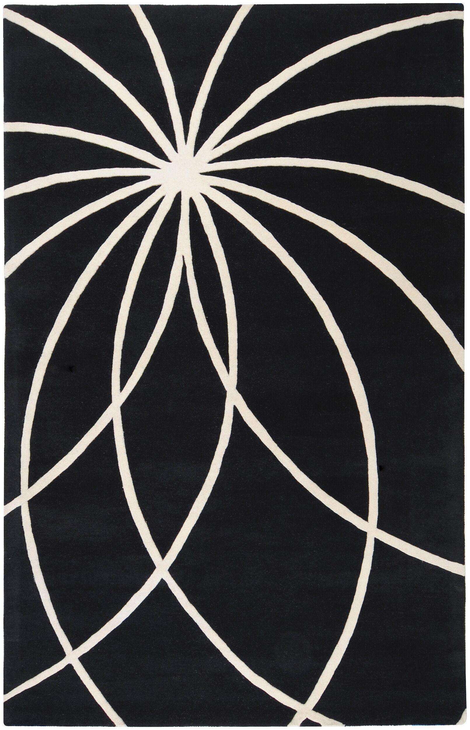 Dewald Black/Ivory Area Rug Rug Size: Rectangle 6' x 9'