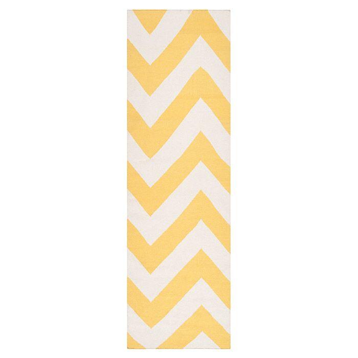 Diego Yellow/White Sunshine Chevron Area Rug Rug Size: Rectangle 9' x 13'