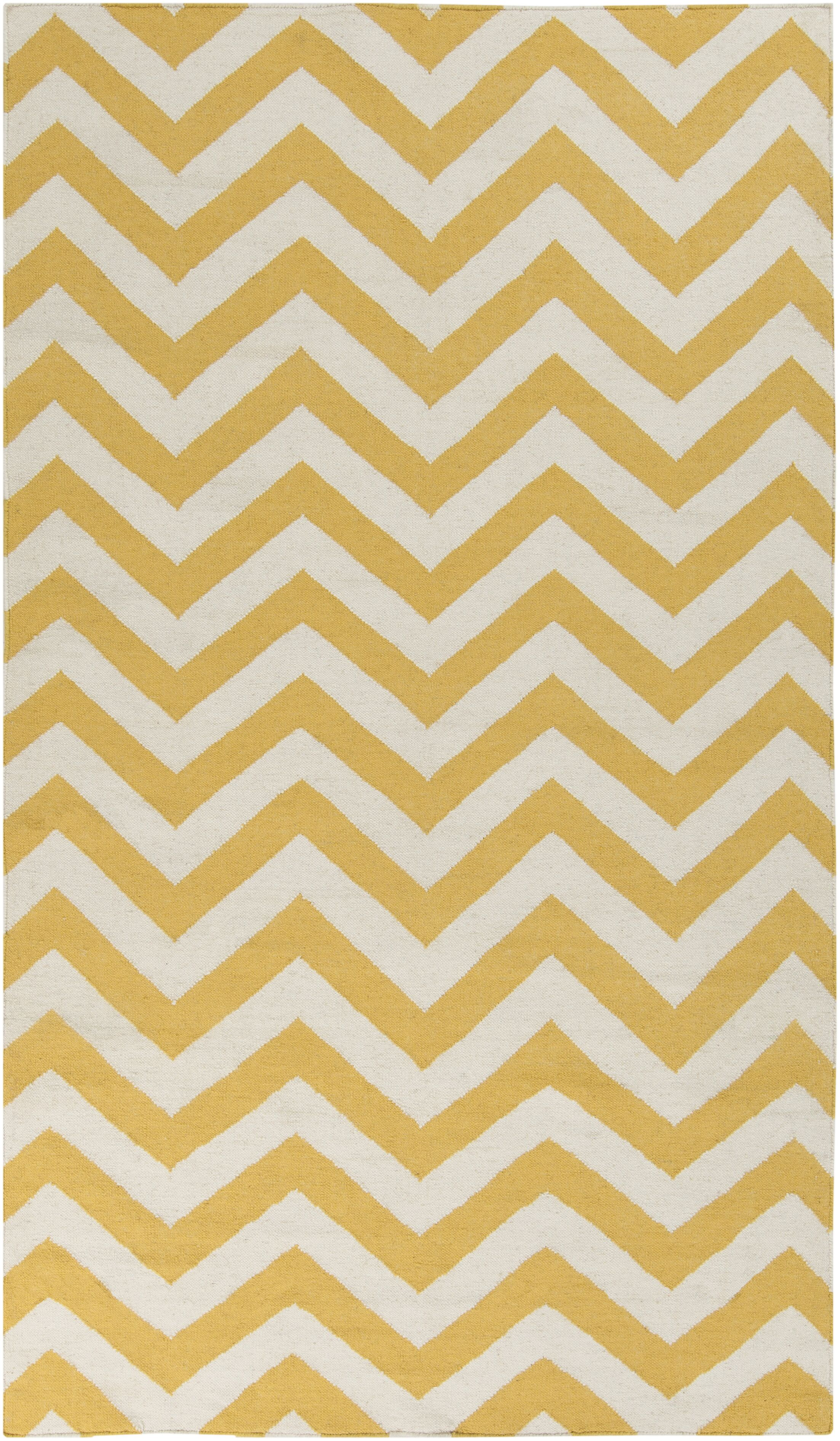Marion Winter White/Old Gold Chevron Area Rug Rug Size: Rectangle 3'6