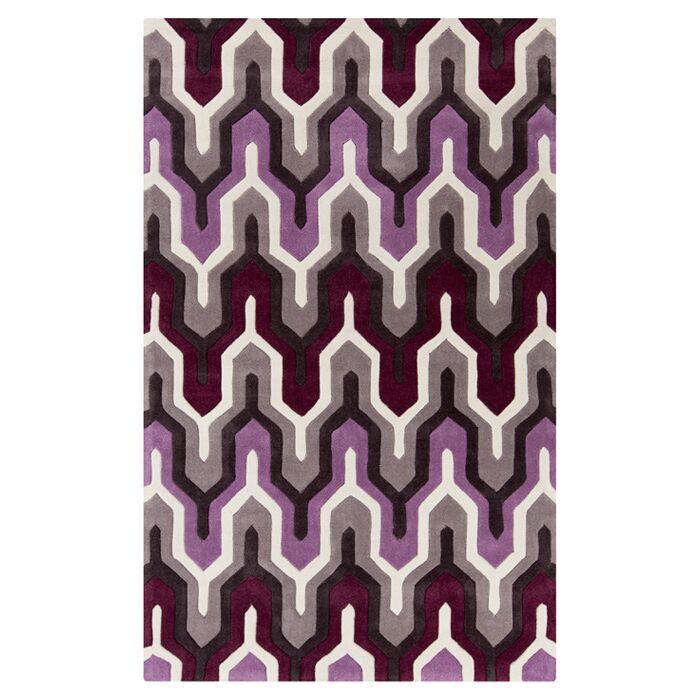 Elisa White/Raspberry Rose Rug Rug Size: Rectangle 8' x 11'