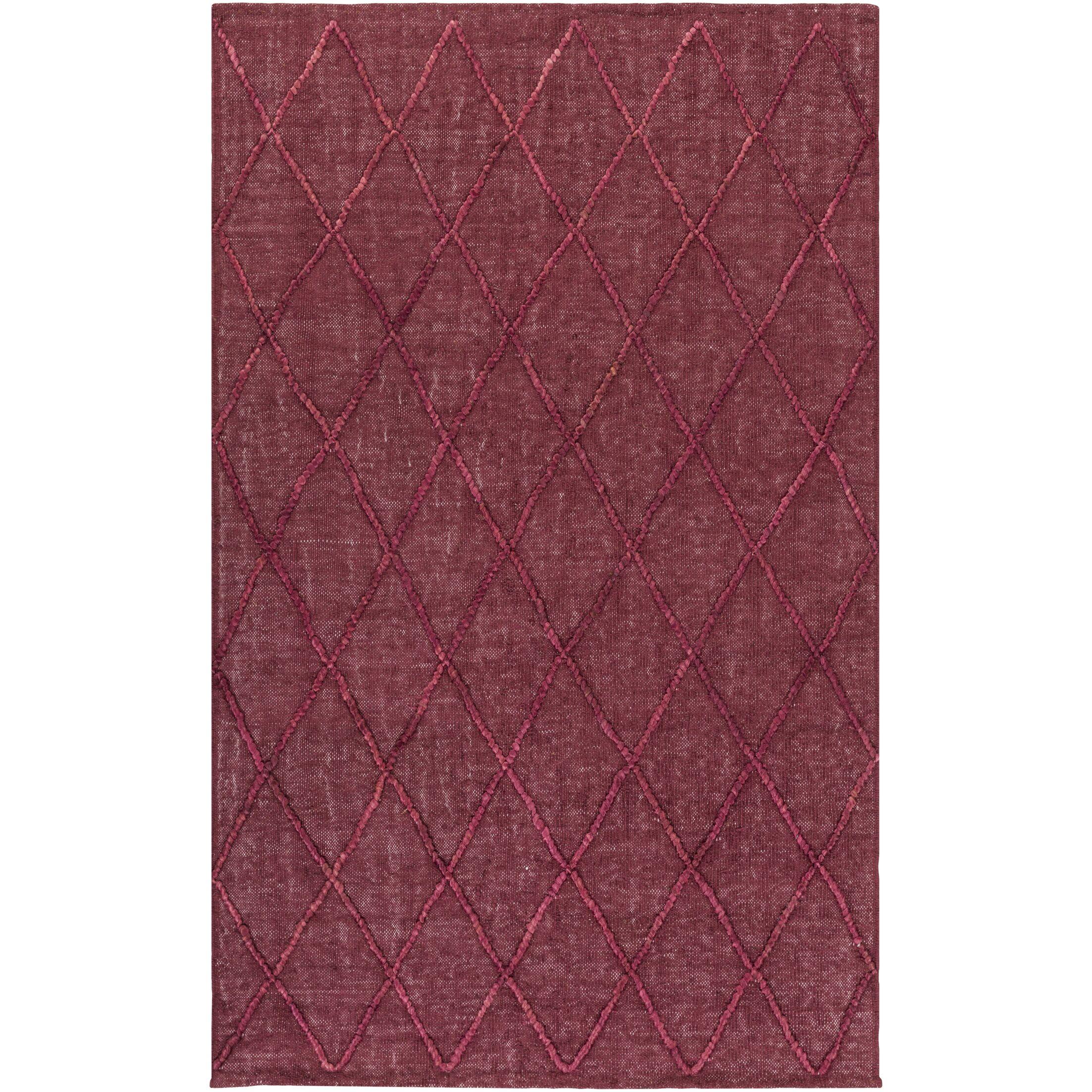 Rachelle Hand-Woven Burgundy/Garnet Area Rug Rug Size: Rectangle 6' x 9'