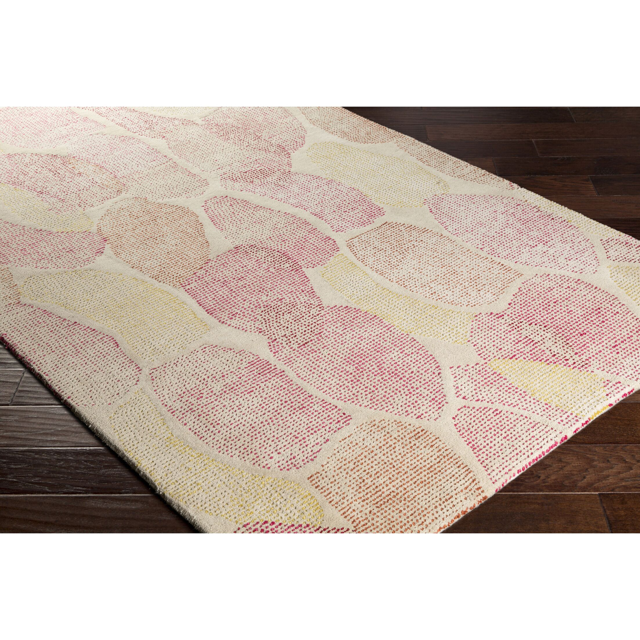 Digby Hand-Tufted Neutral/Pink Area Rug Rug Size: Rectangle 5' x 7'6